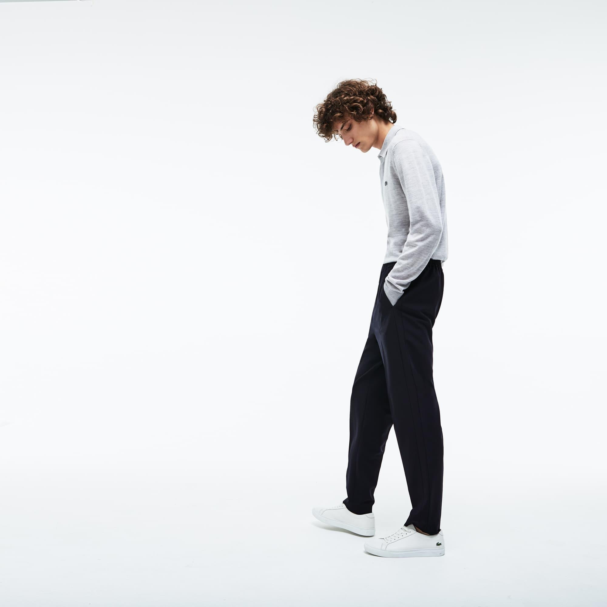 Twill À Stretch De Pantalon Motion Laine Pinces Lacoste Chino En 56PwHxYP