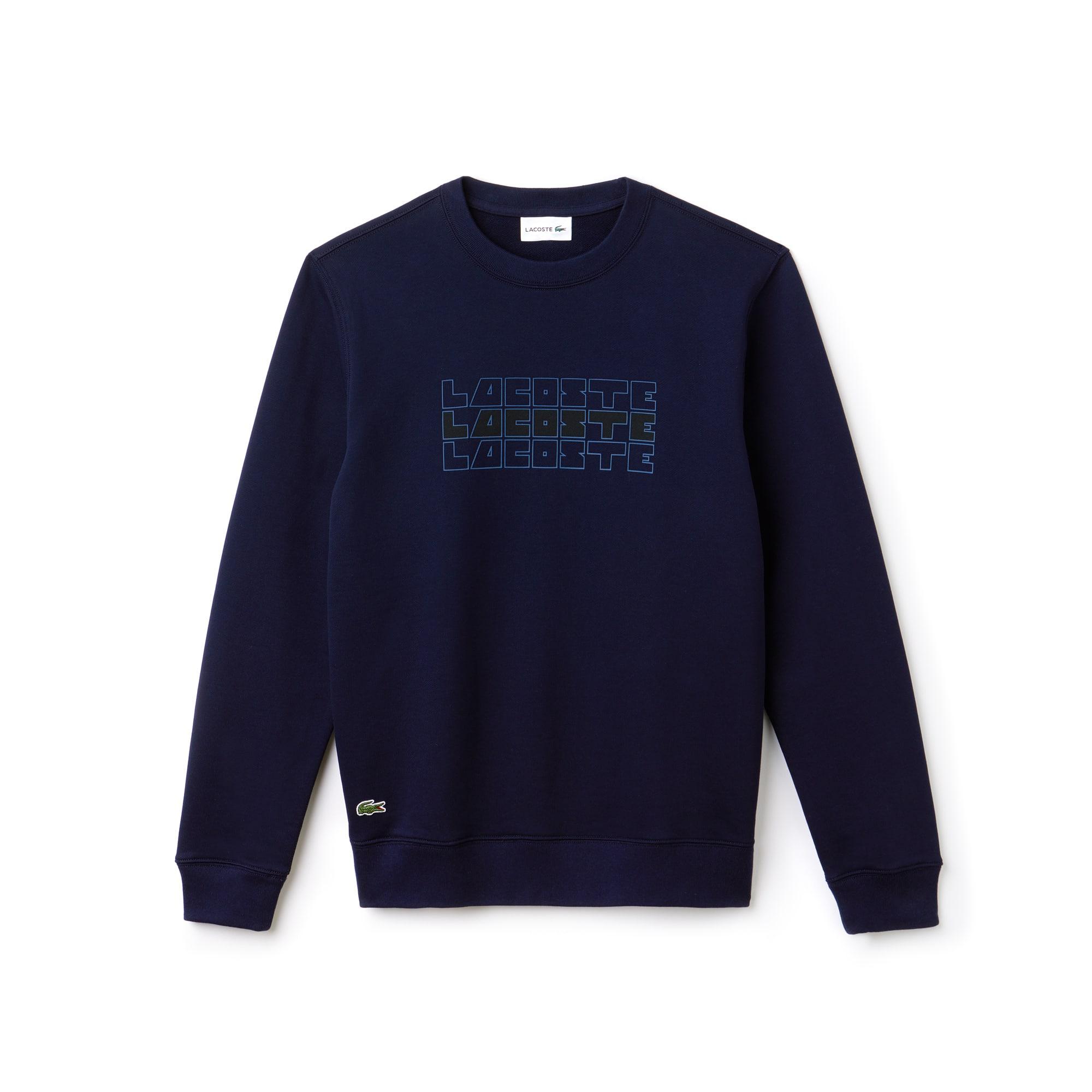 Sweatshirt col rond en molleton uni avec marquage Lacoste