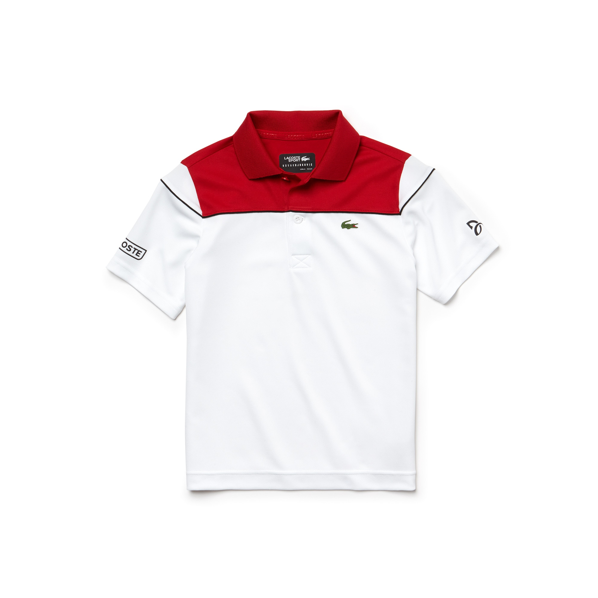 Polo Garçon LACOSTE SPORT COLLECTION NOVAK DJOKOVIC en piqué technique color block