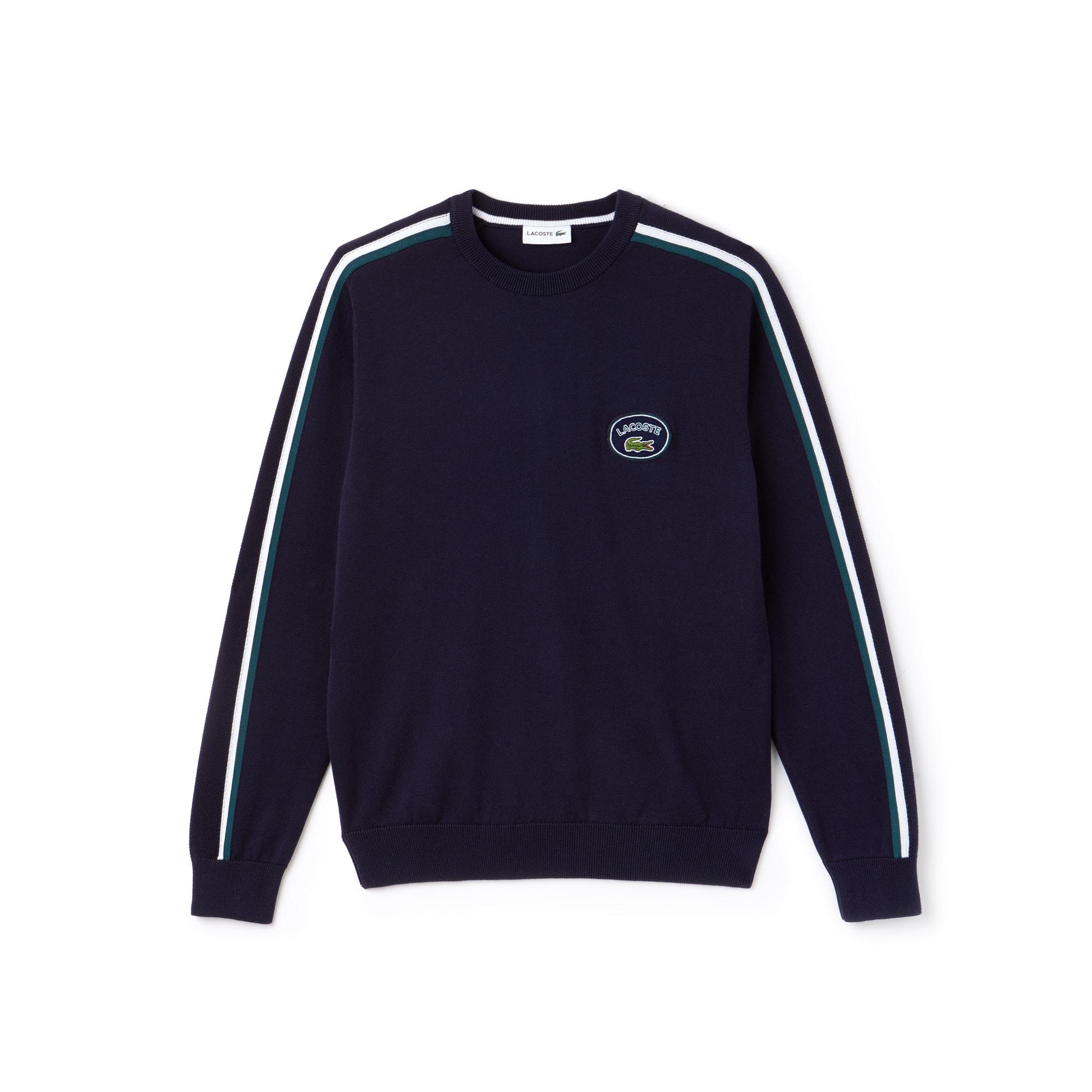 Pull col rond en jersey de coton à détails contrastés