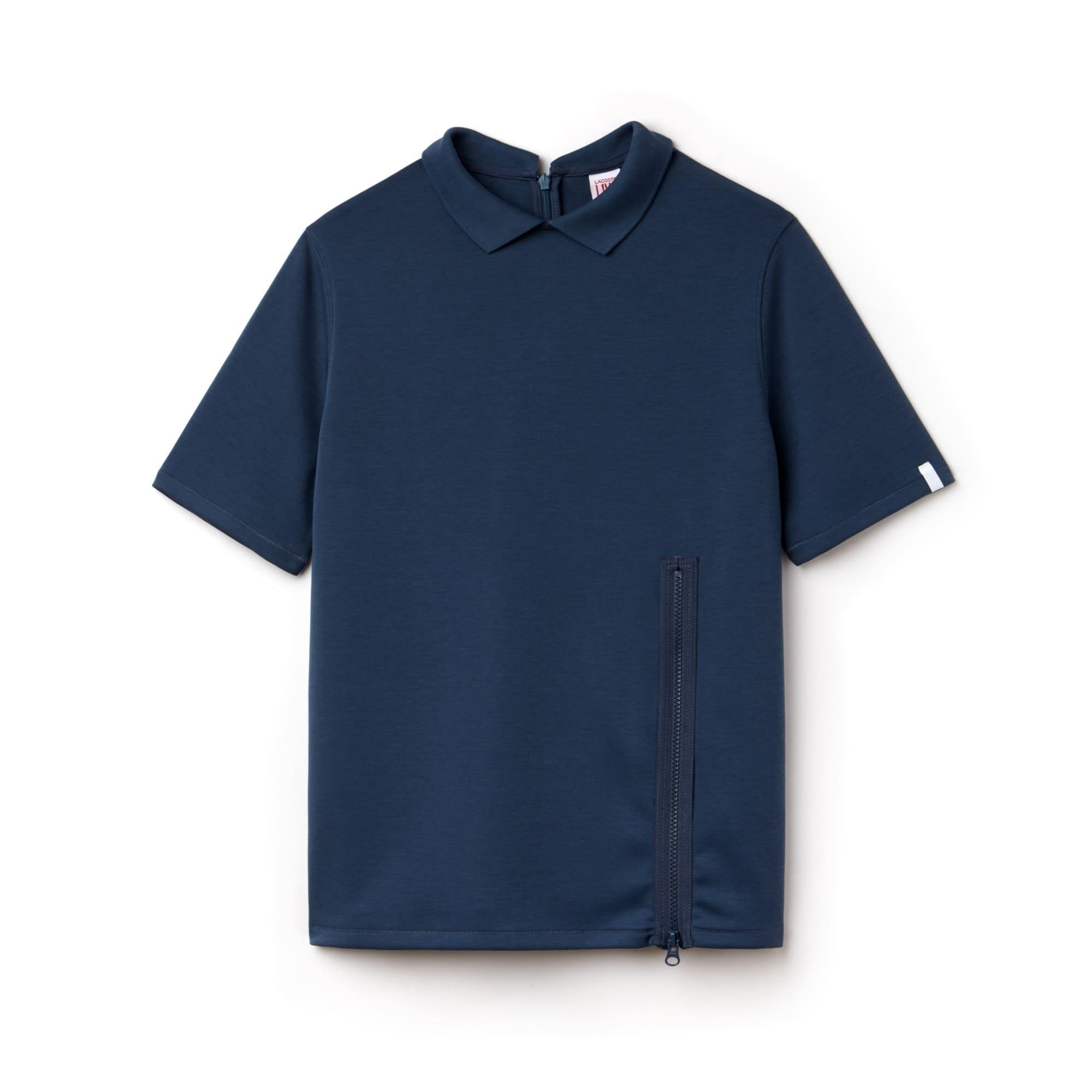 Polo Lacoste LIVE en jersey uni avec fermeture zippée
