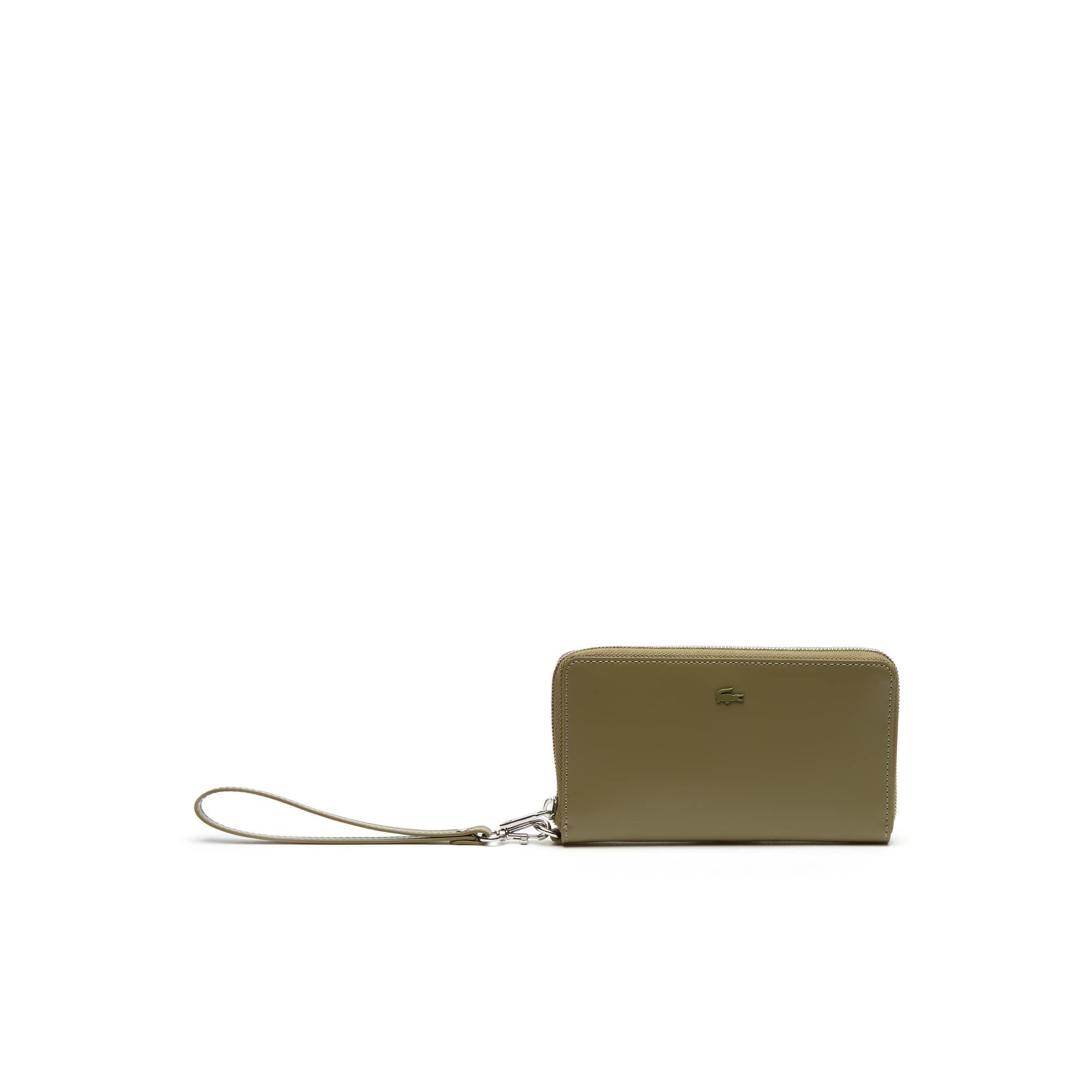 Portefeuille zippé Mini Golf en cuir glacé uni 7 cartes