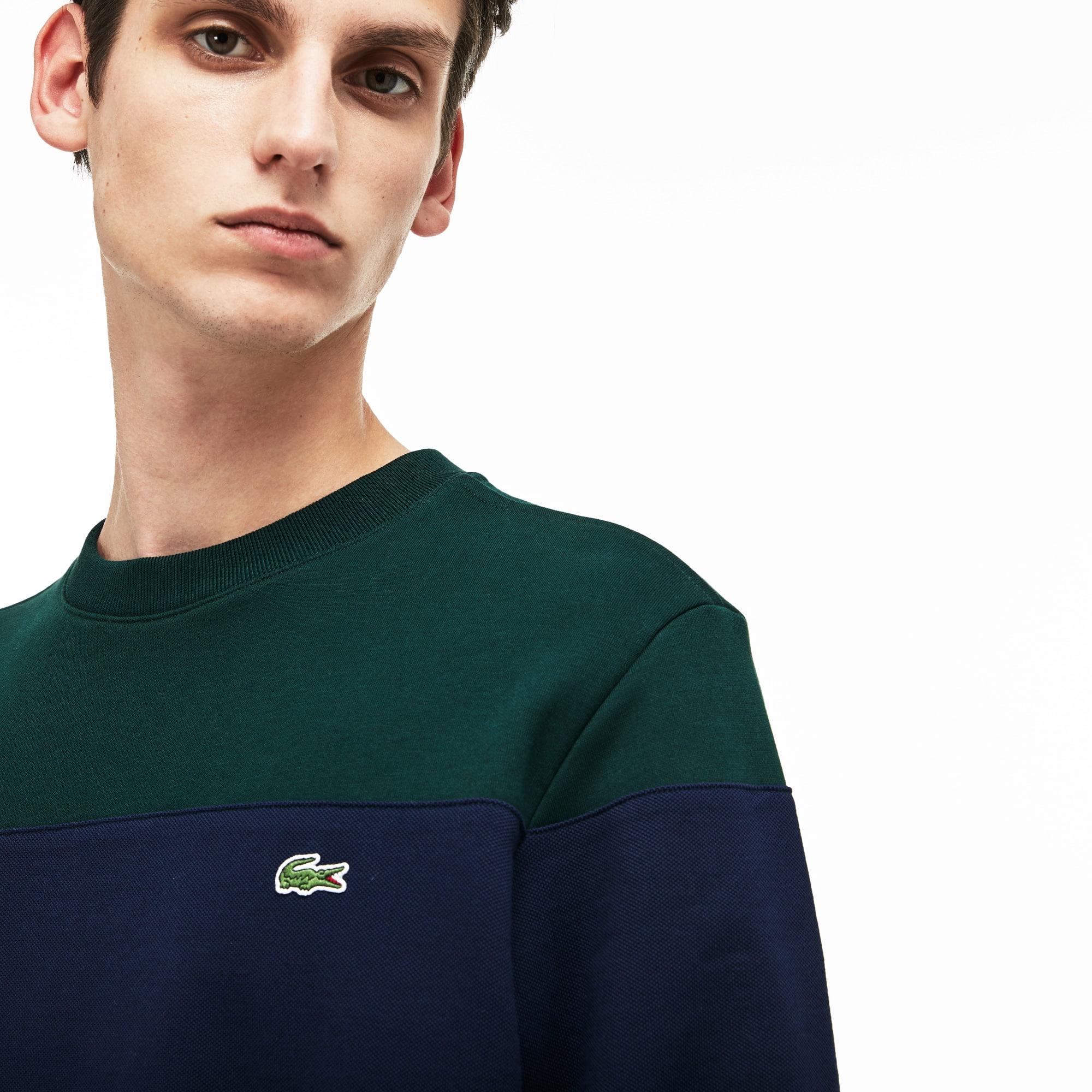 Sweatshirt col rond en molleton de coton color block