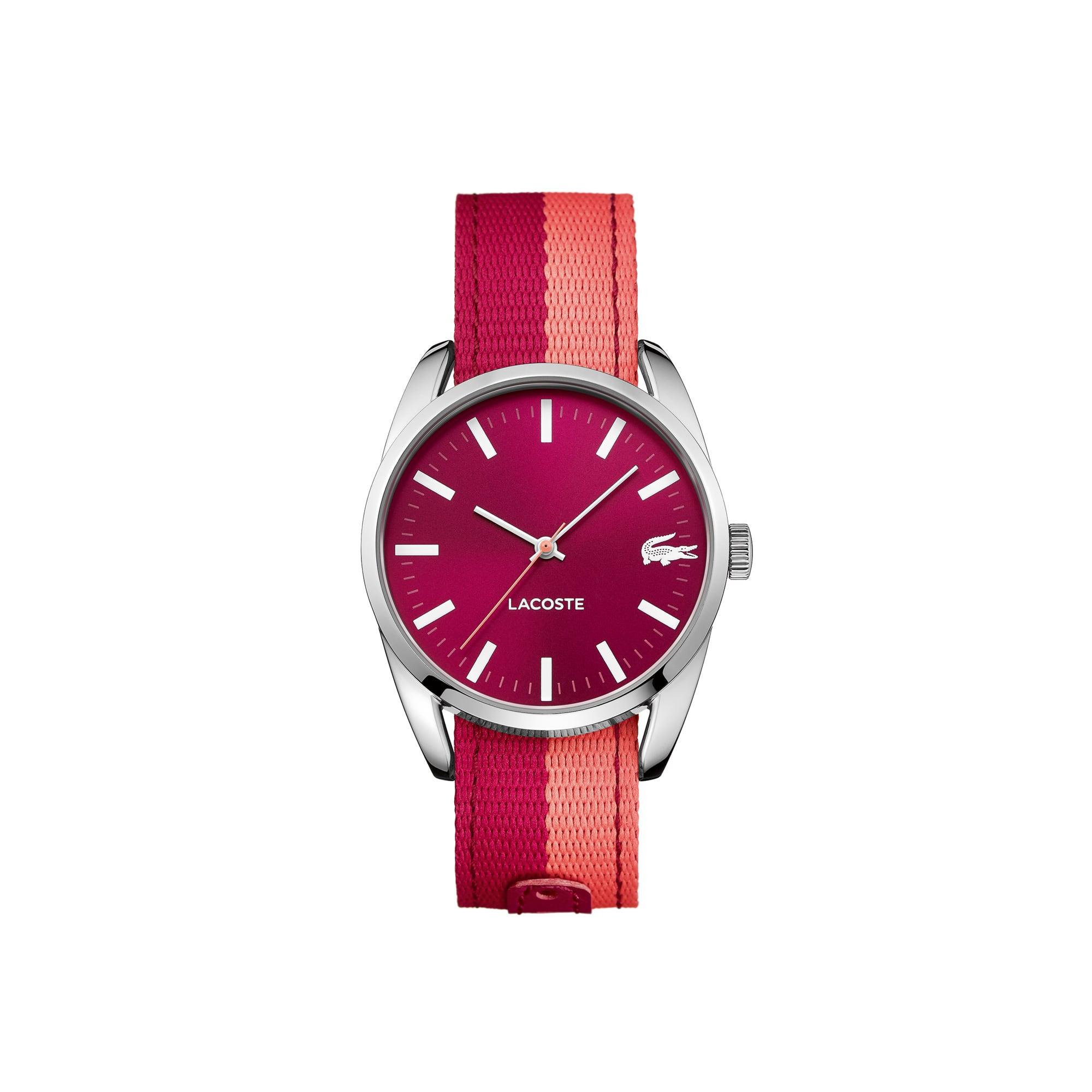 Montre Malaga - bracelet textile rose réversible