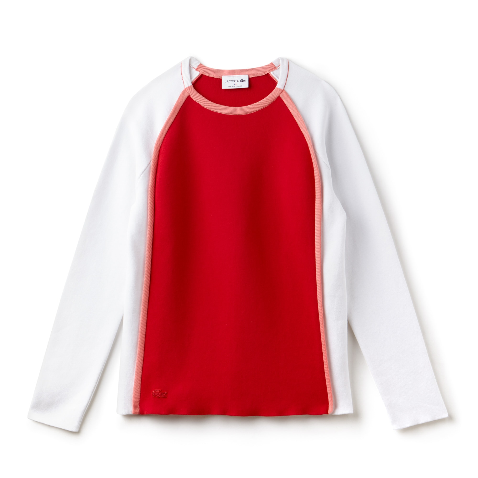 Pull col rond Made in France en interlock de coton color block