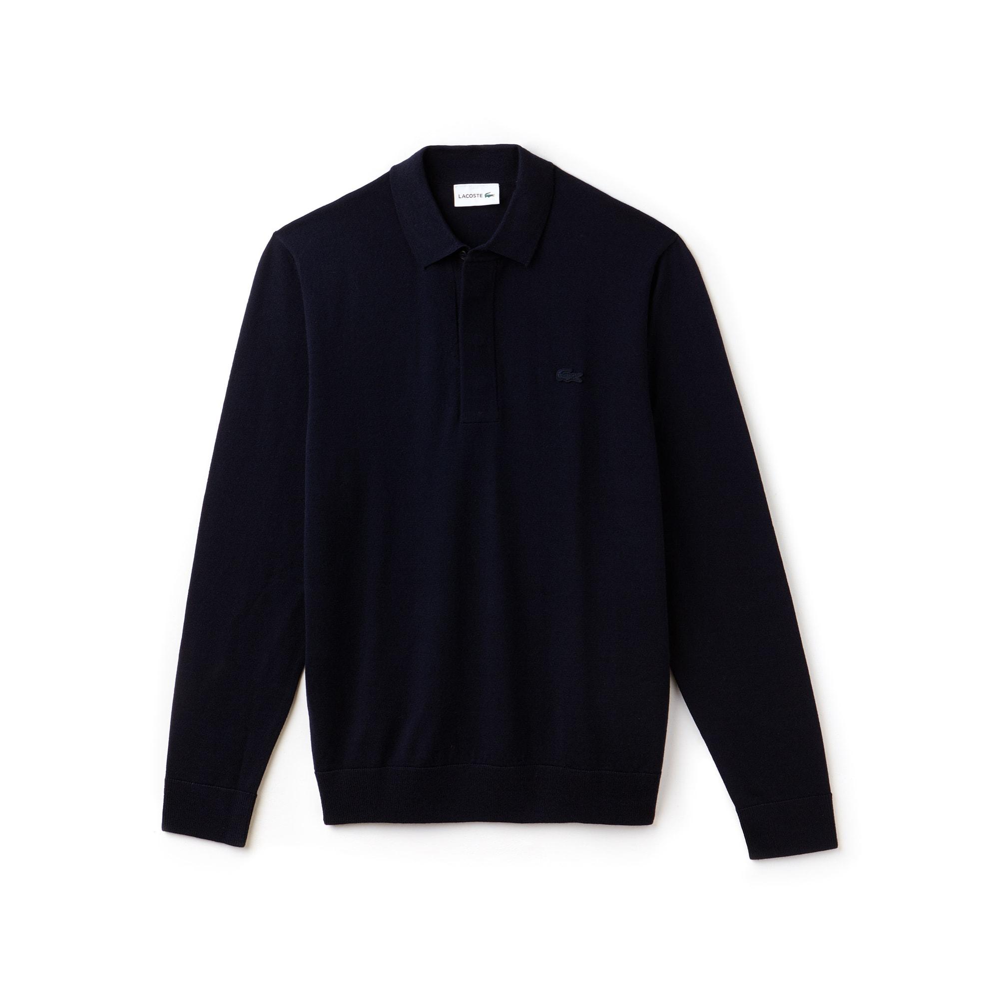 Pull à manches longues en jersey de laine uni