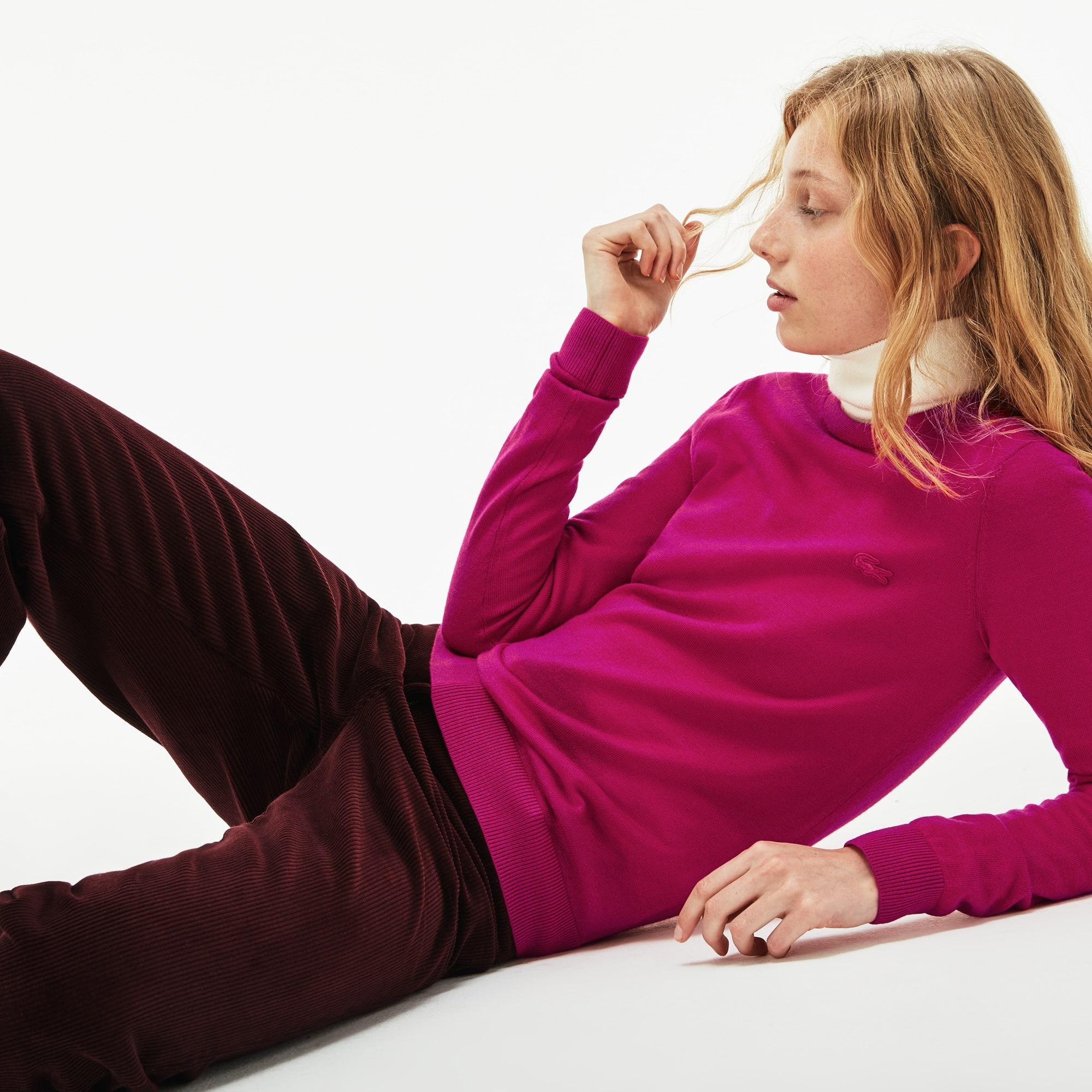 Pull col rond en jersey de laine uni