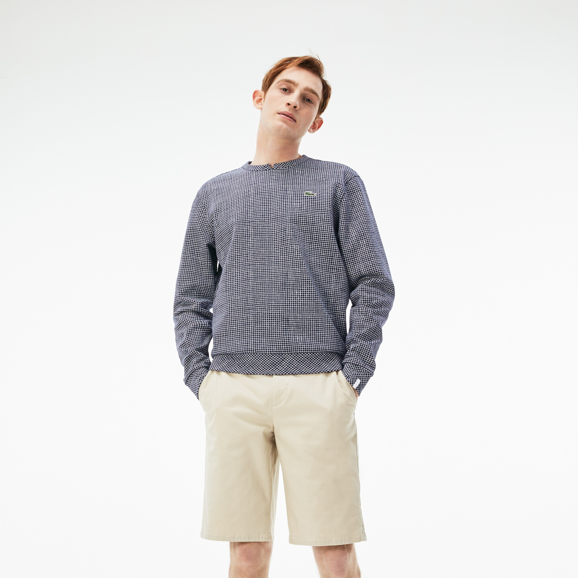 Sweatshirt col rond Lacoste LIVE en molleton à mini carreaux