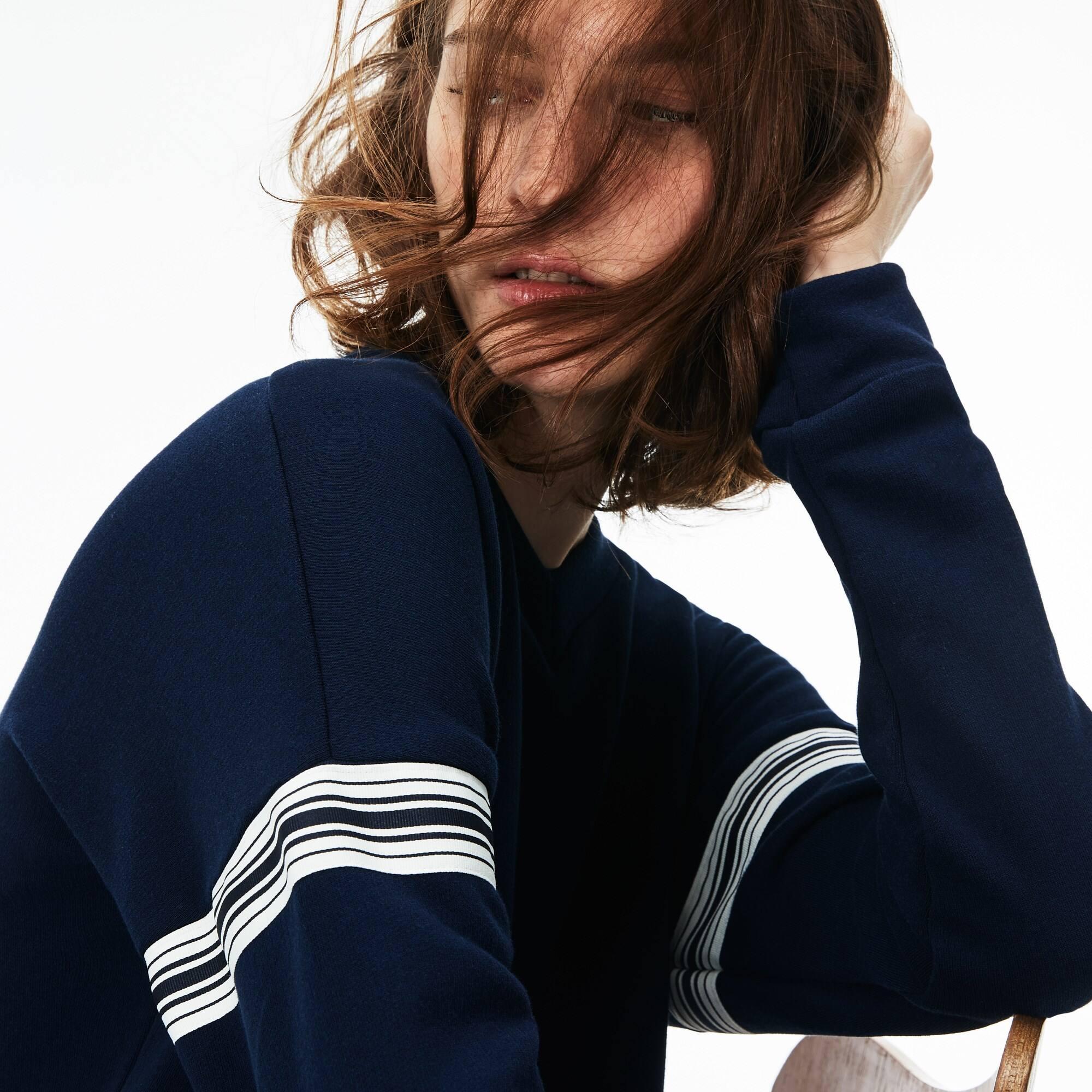 Robe sweatshirt en molleton crêpe avec bandes contrastées