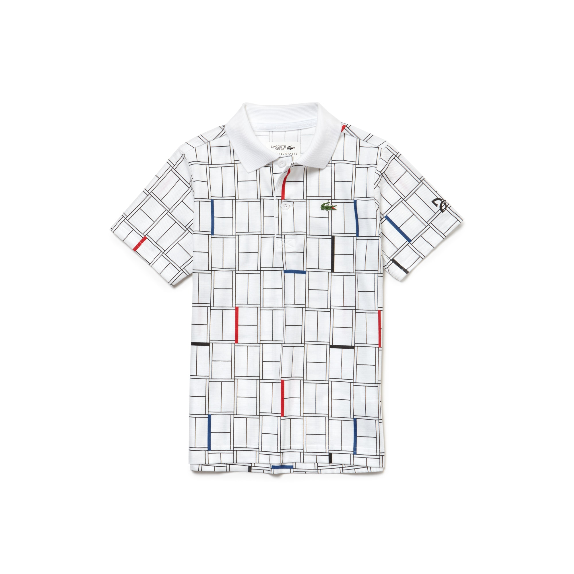 Polo Garçon LACOSTE SPORT COLLECTION NOVAK DJOKOVIC en coton léger imprimé