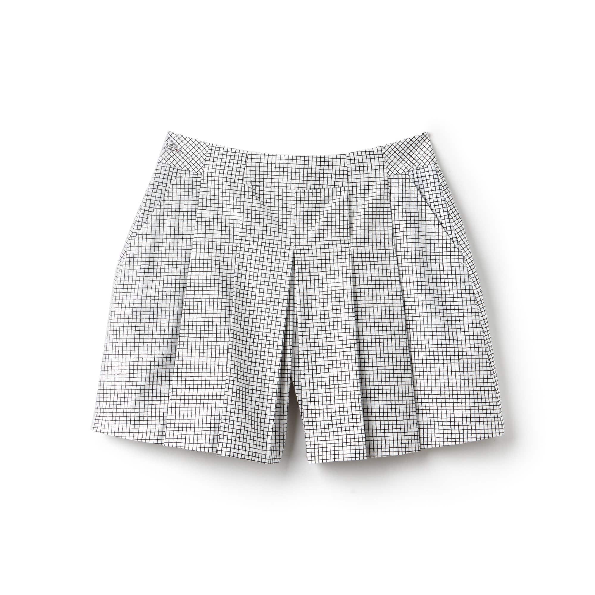 Short plissé Lacoste LIVE en popeline de coton à petits carreaux