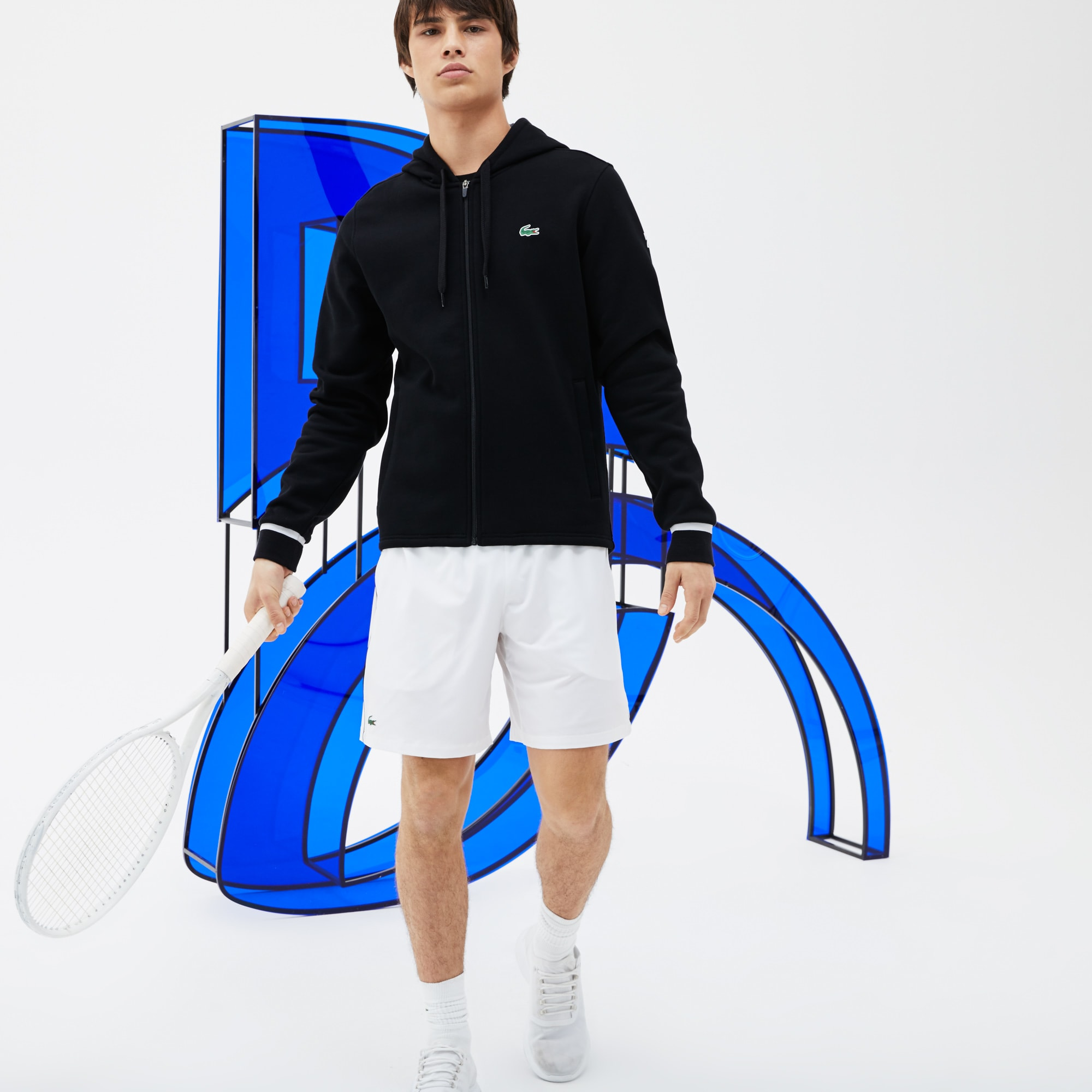 Sweatshirt zippé à capuche Lacoste SPORT COLLECTION NOVAK DJOKOVIC SUPPORT WITH STYLE en molleton uni