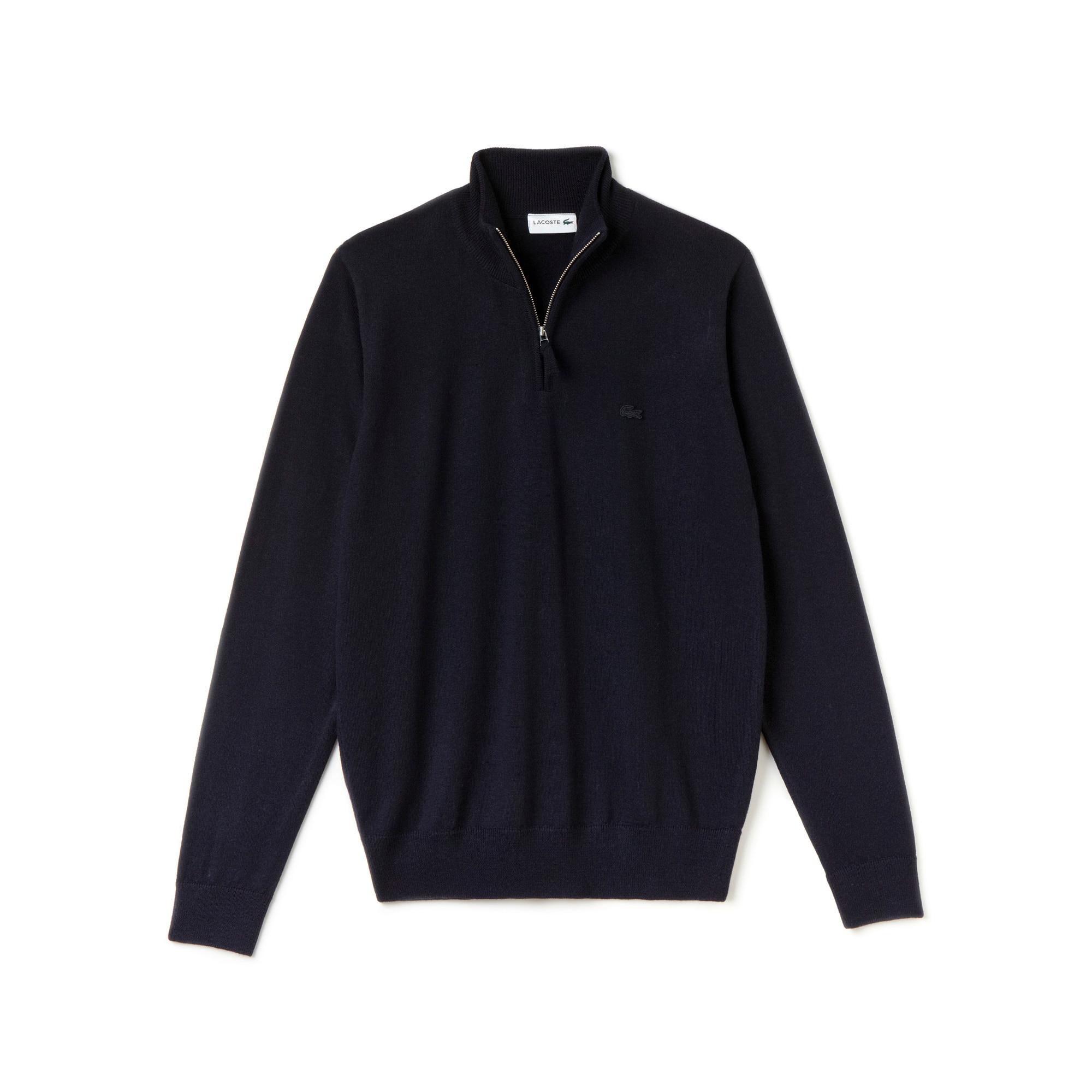 Pull col montant zippé en jersey de laine uni