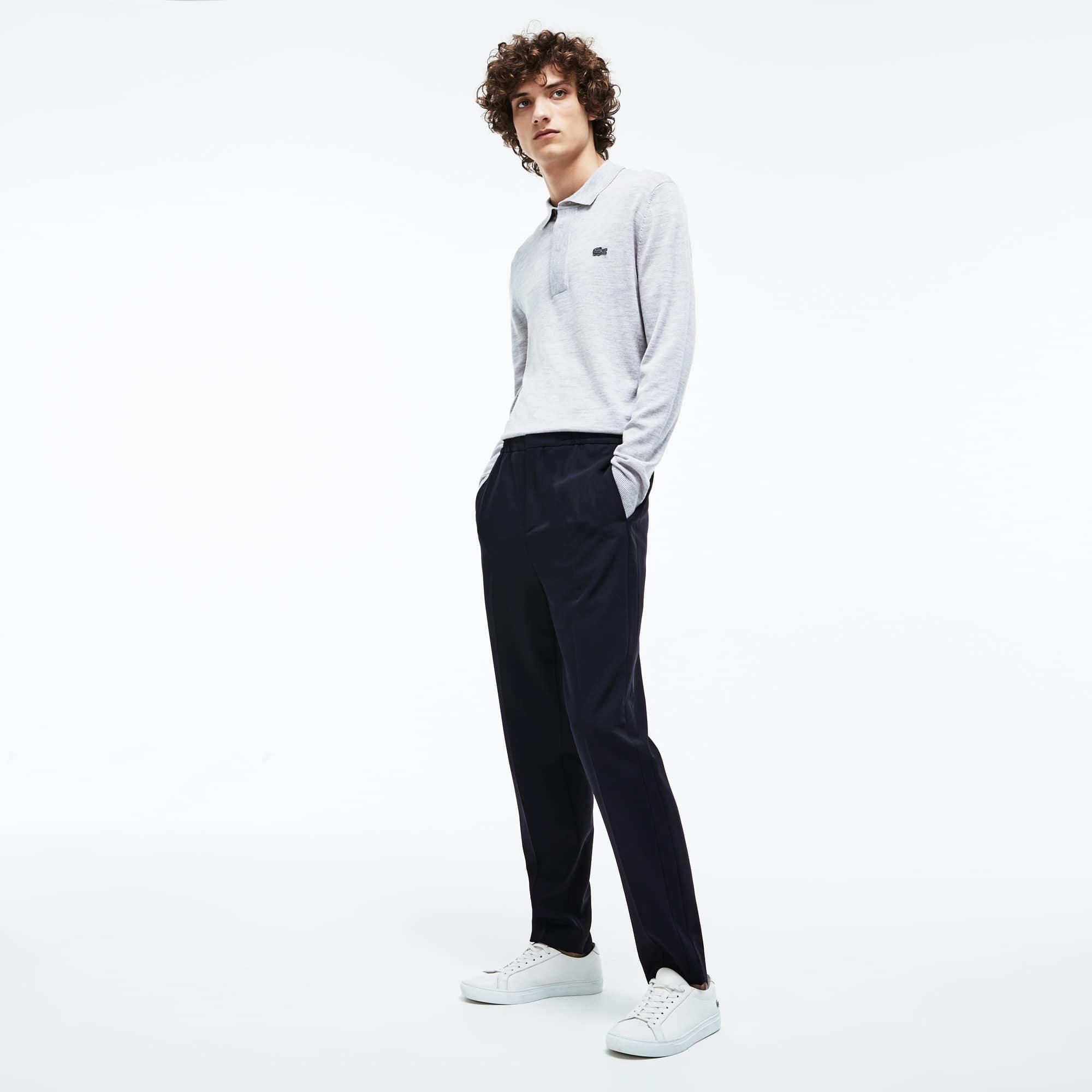Pantalon chino à pinces Lacoste Motion en twill de laine stretch