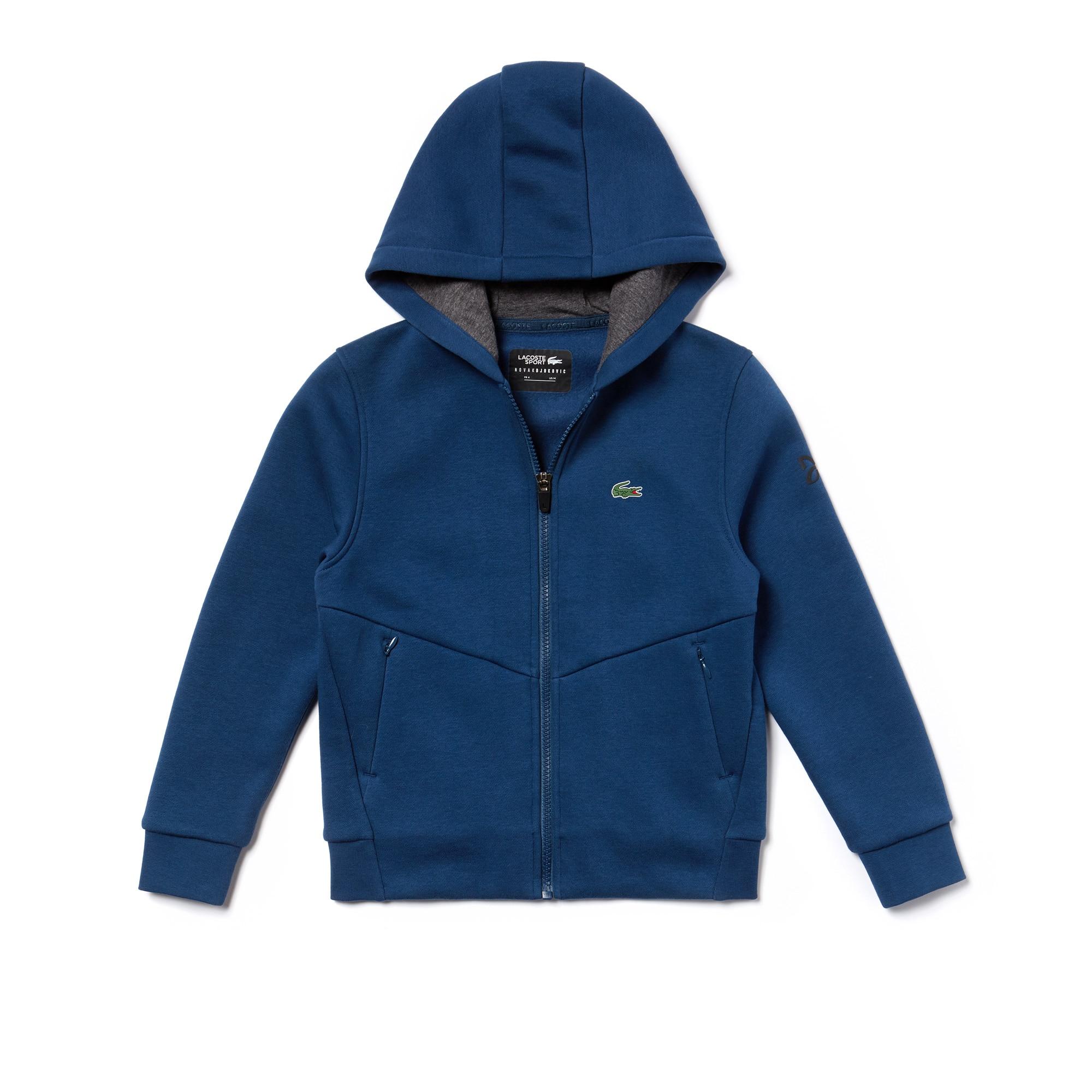 Sweatshirt zippé Garçon Lacoste SPORT Collection Novak Djokovic - Off Court en molleton technique