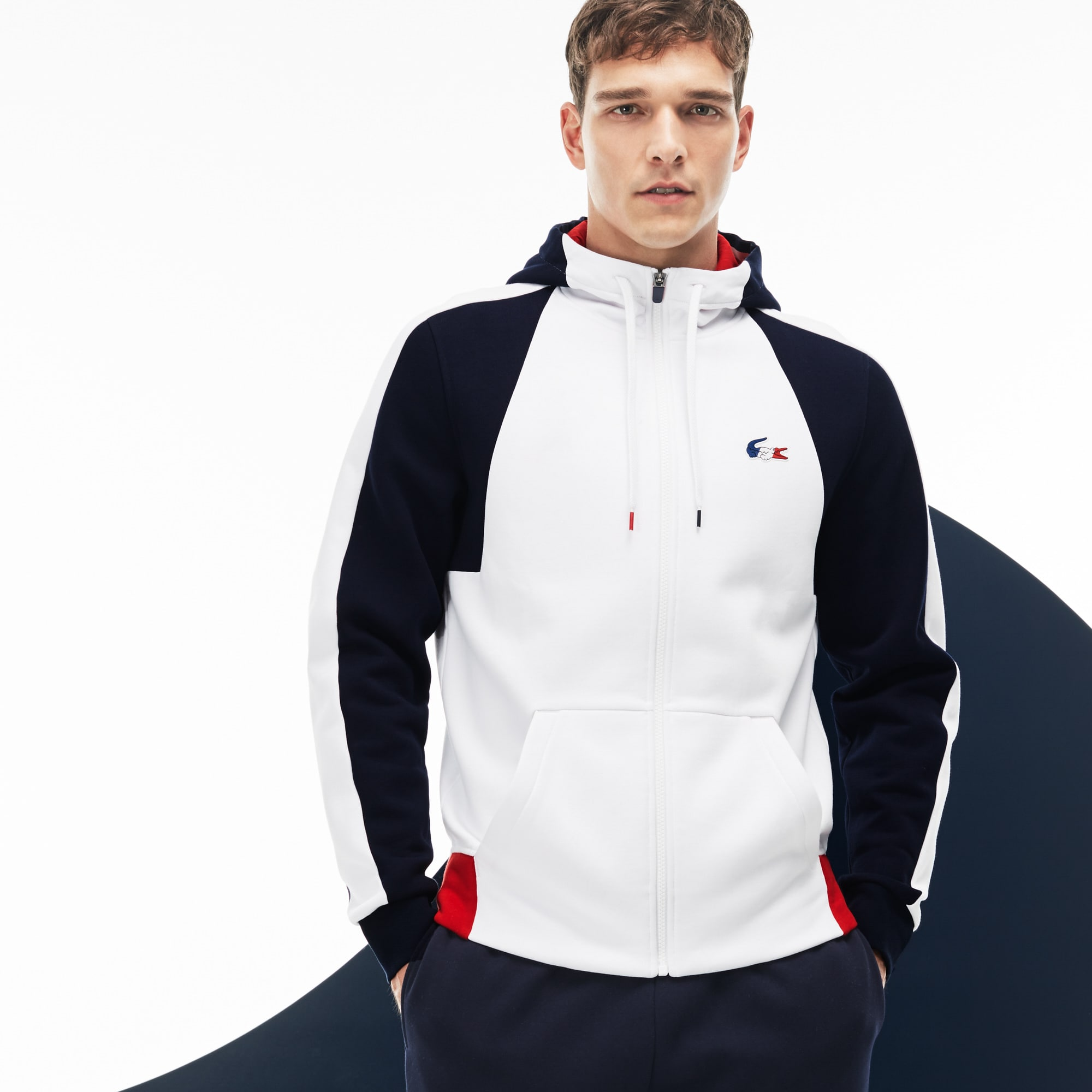 Sweatshirt Lacoste SPORT en molleton color block Édition FRENCH SPORTING SPIRIT