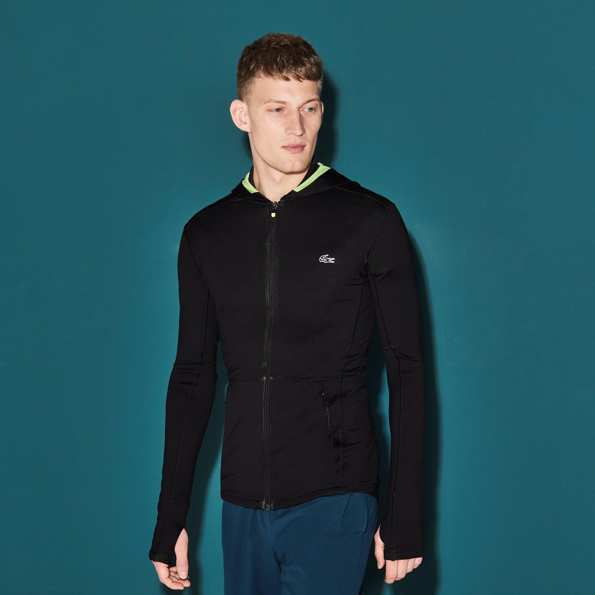 Sweatshirt zippé à capuche Tennis Lacoste SPORT en midlayer bicolore