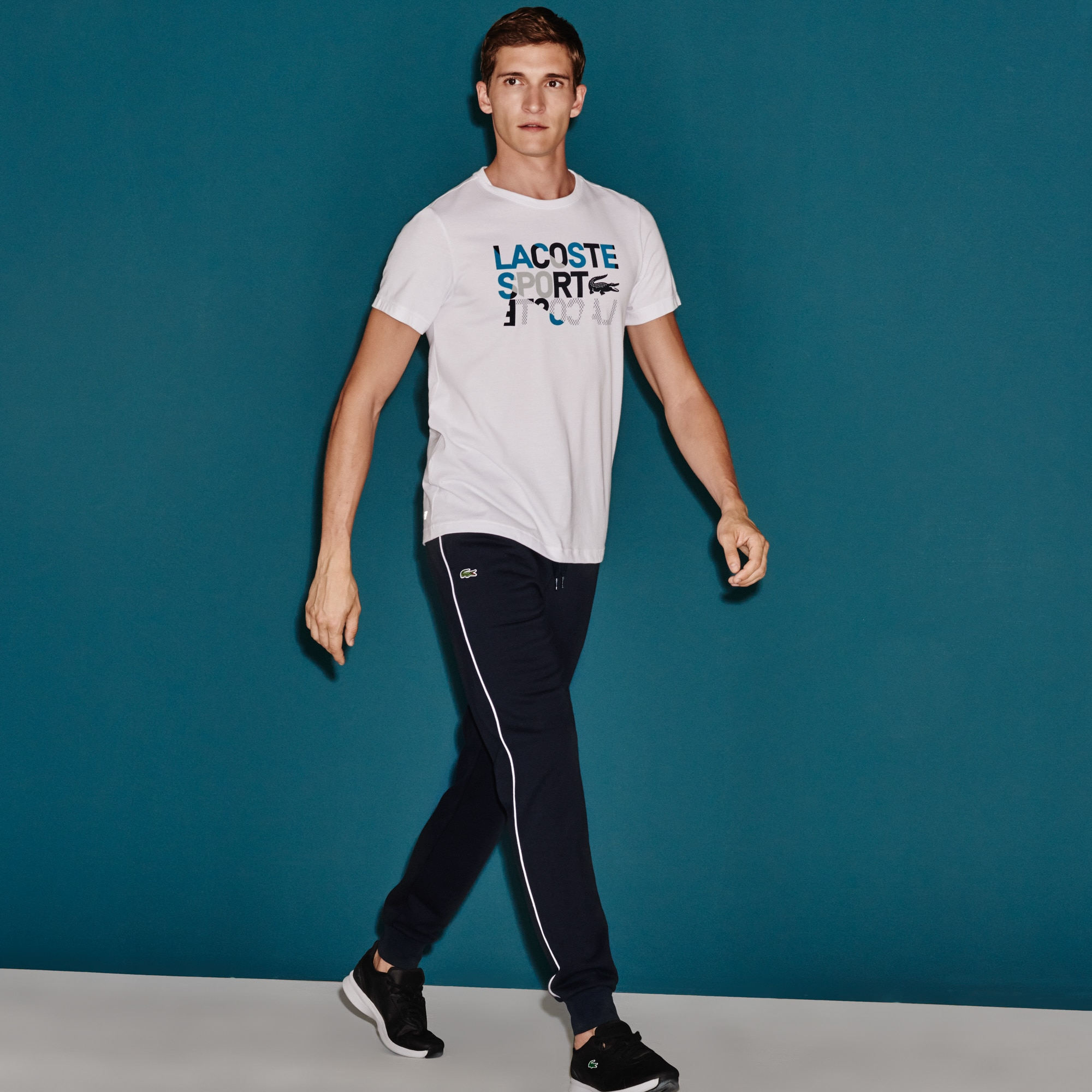 Pantalon de survêtement Tennis Lacoste SPORT en molleton avec piping