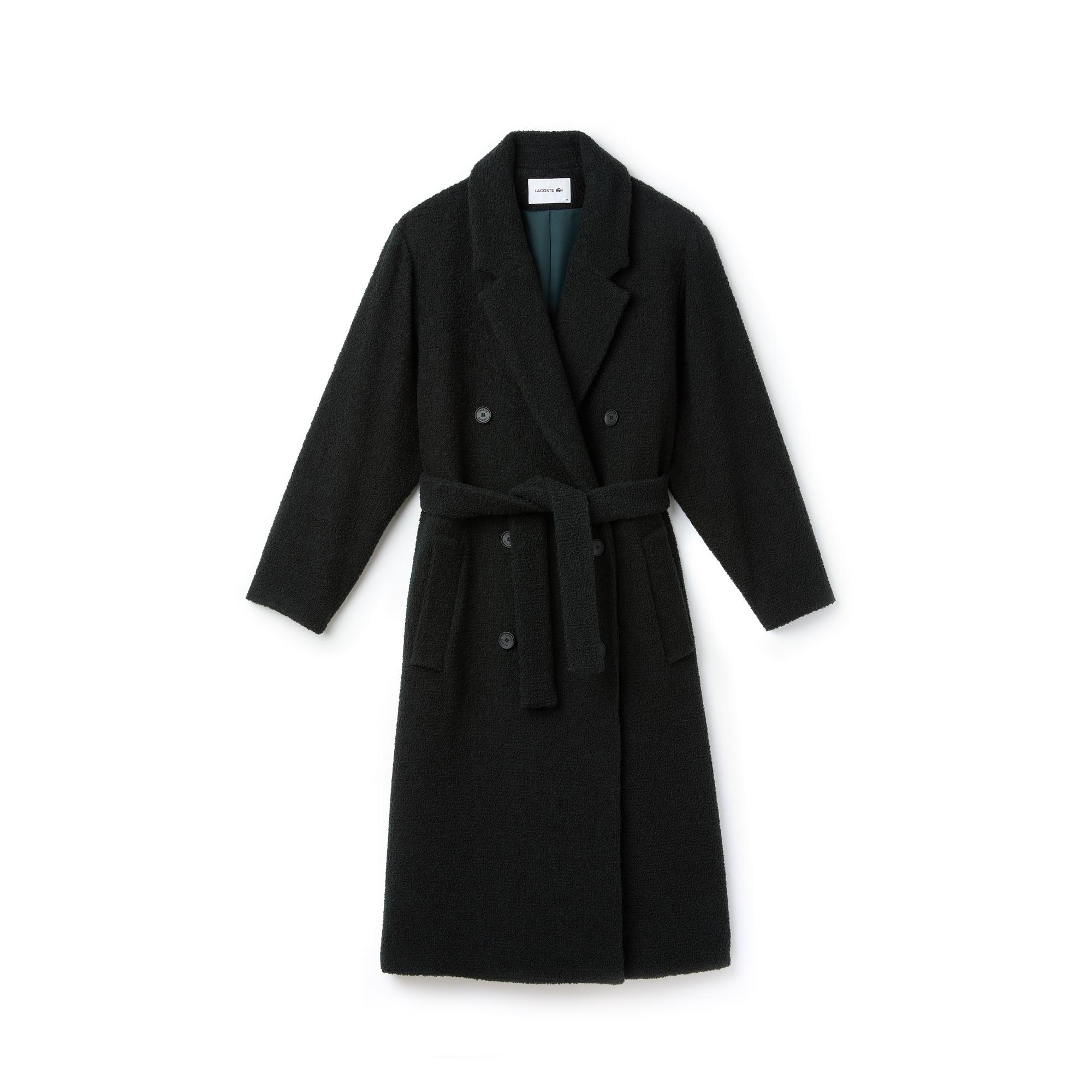 Trench-coat croisé et ceinturé en laine bouclette unie