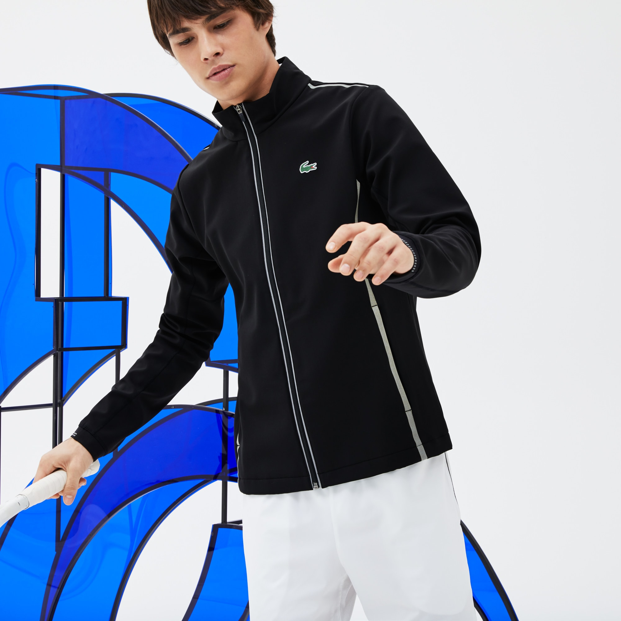 Sweatshirt zippé Lacoste SPORT COLLECTION NOVAK DJOKOVIC SUPPORT WITH STYLE en midlayer technique
