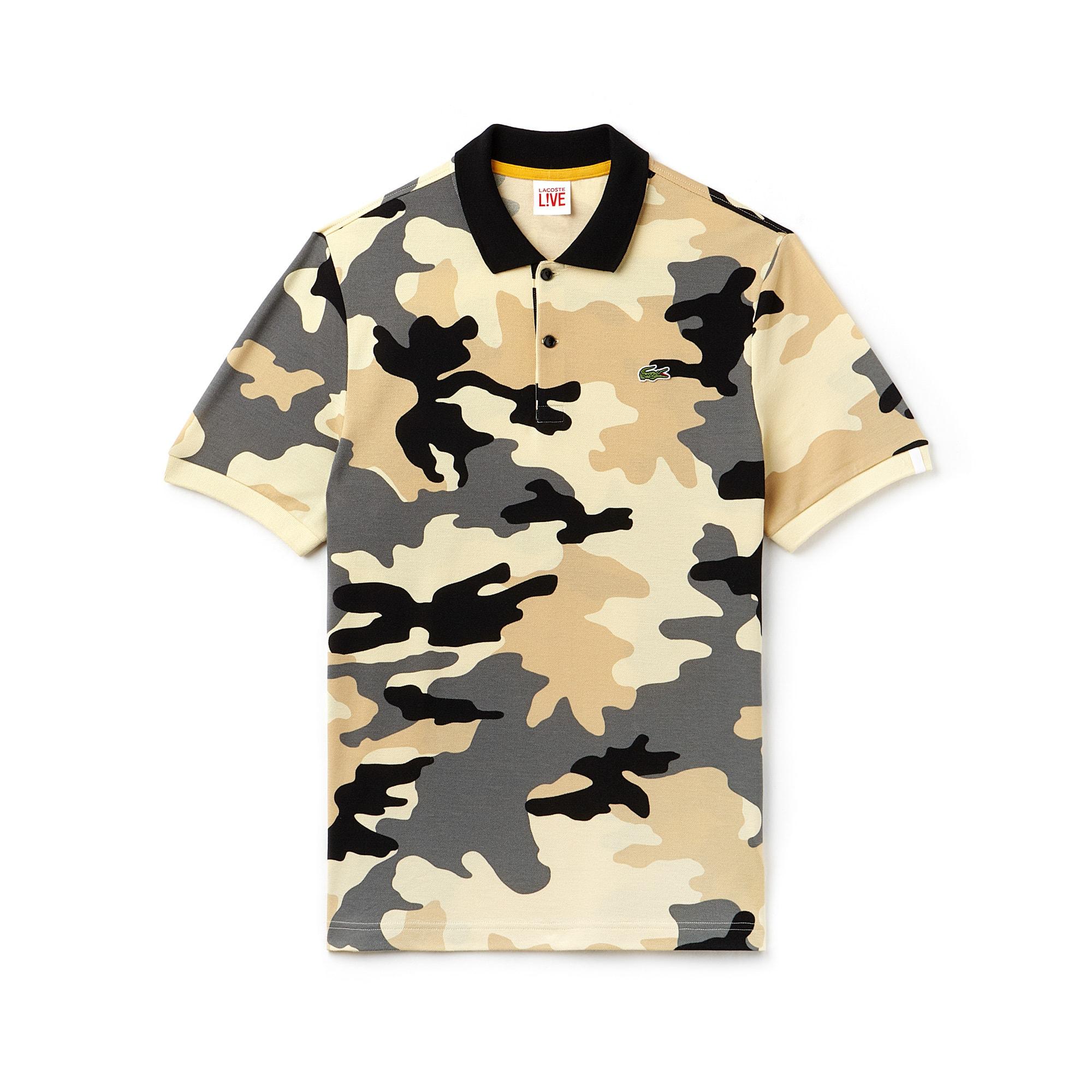 Polo regular fit Lacoste LIVE en mini piqué imprimé camouflage