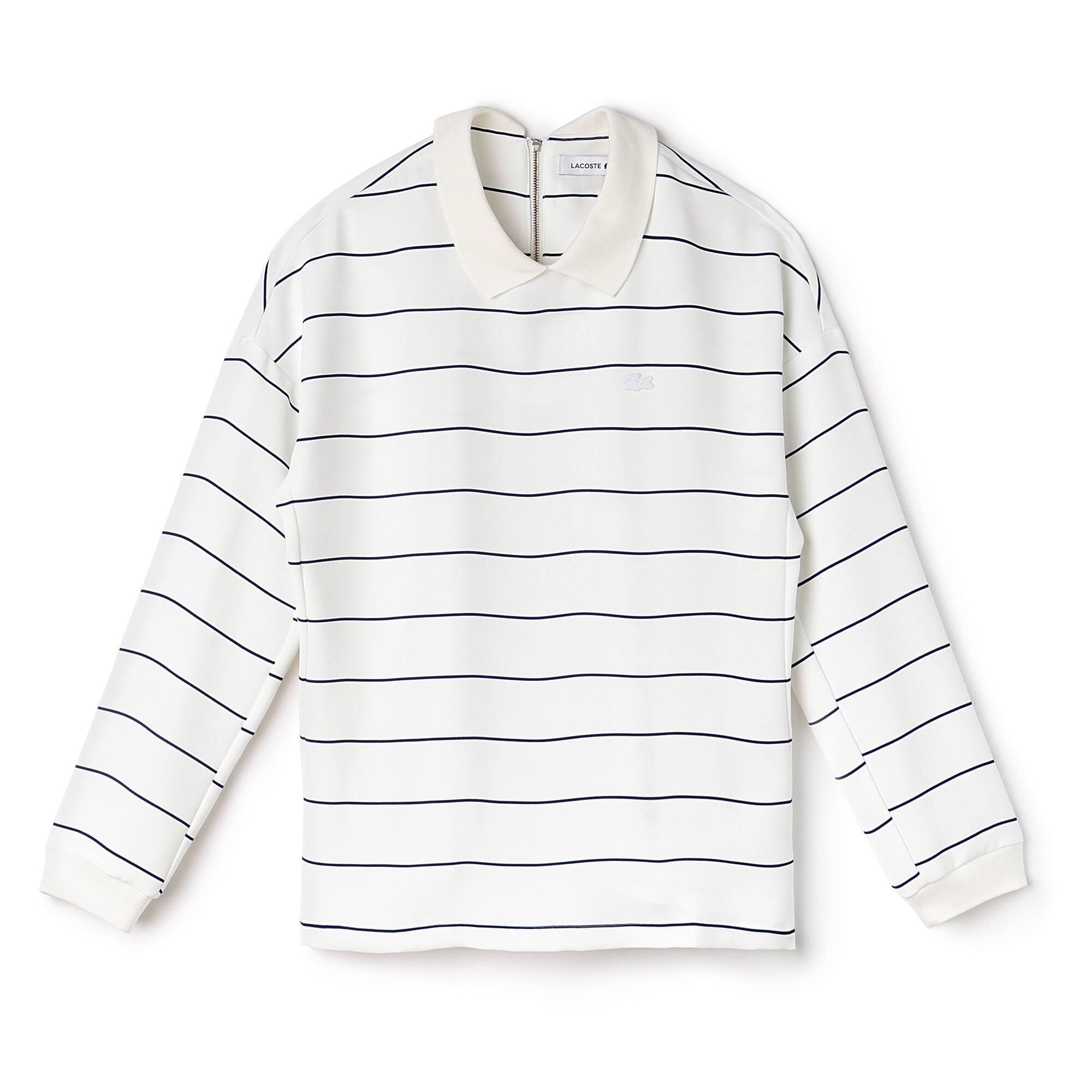 Chemise col polo en crêpe à rayures zippé au dos