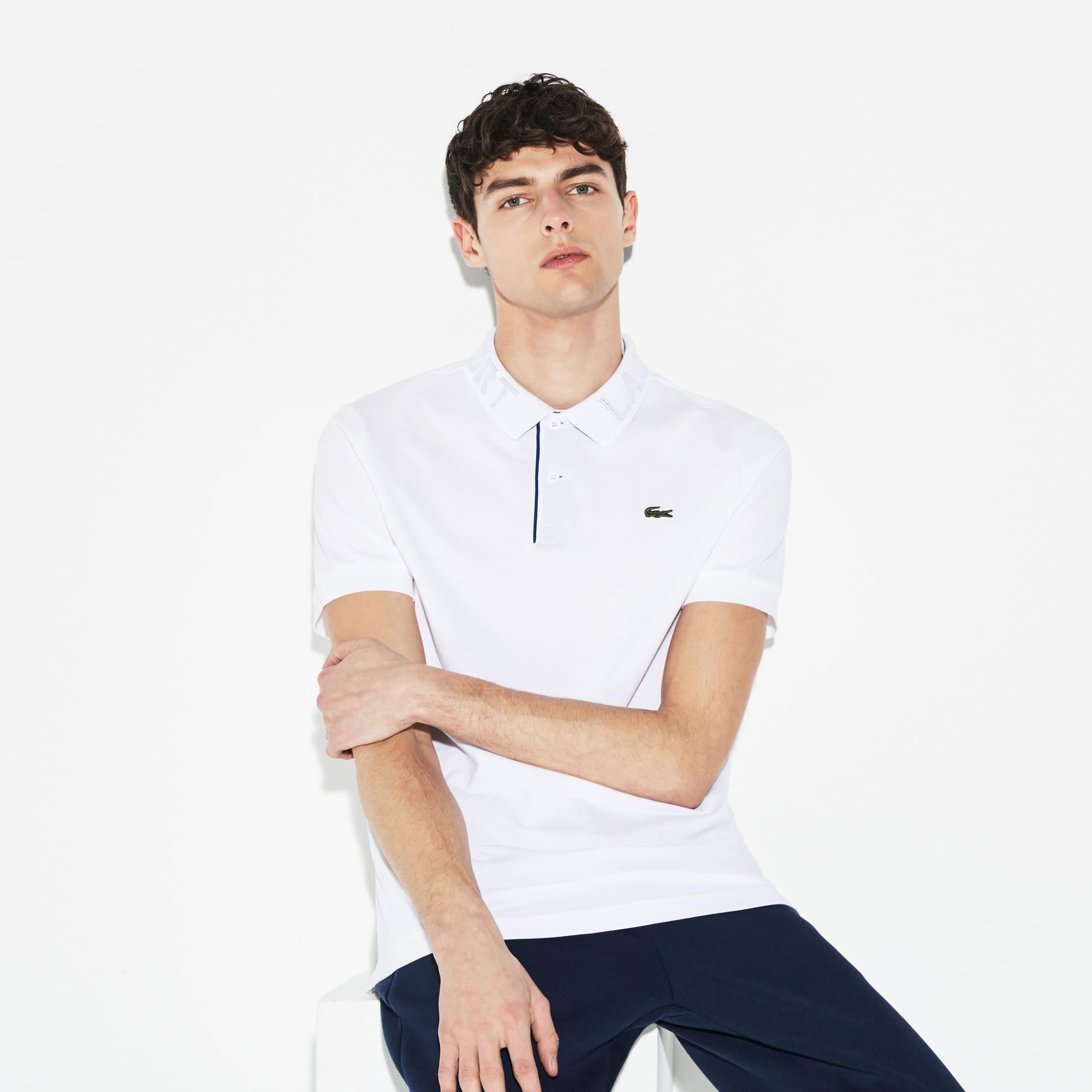 Polo Tennis Lacoste SPORT en coton ultra léger avec col imprimé
