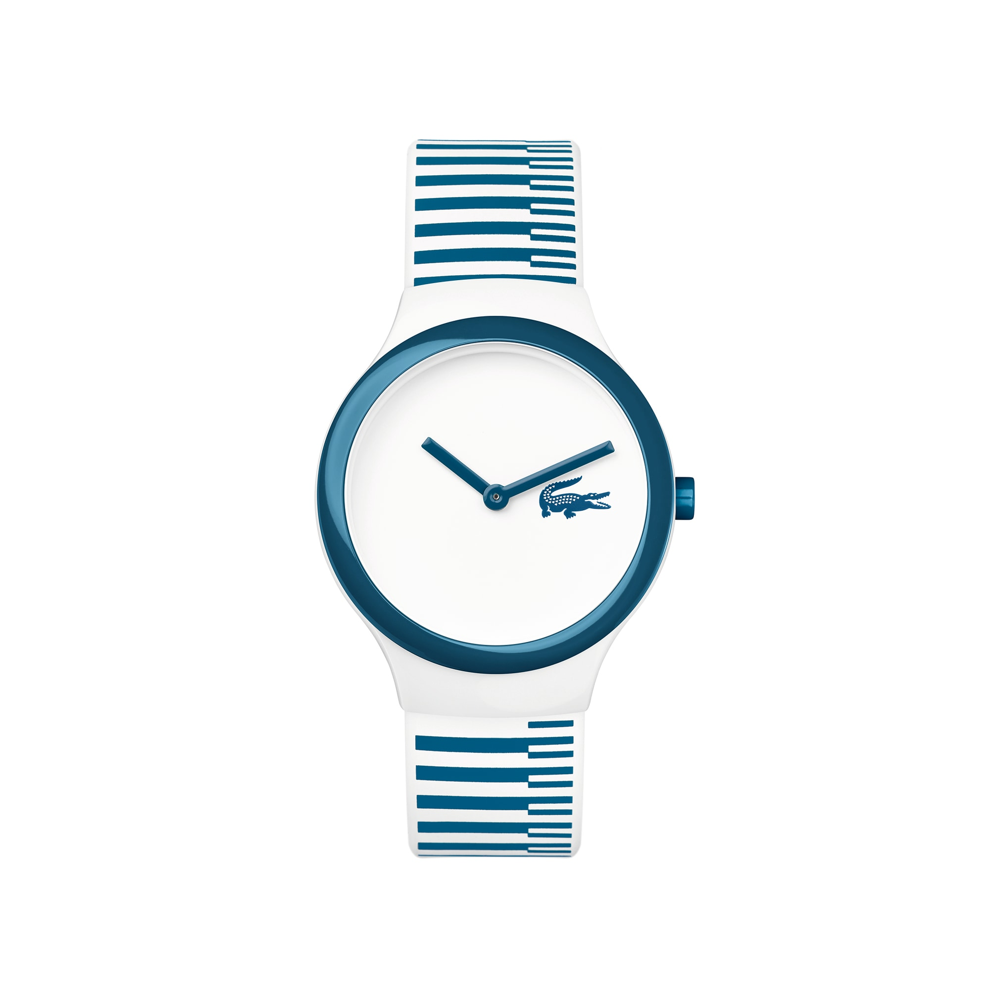 Montre Goa new blanche rayures bleues