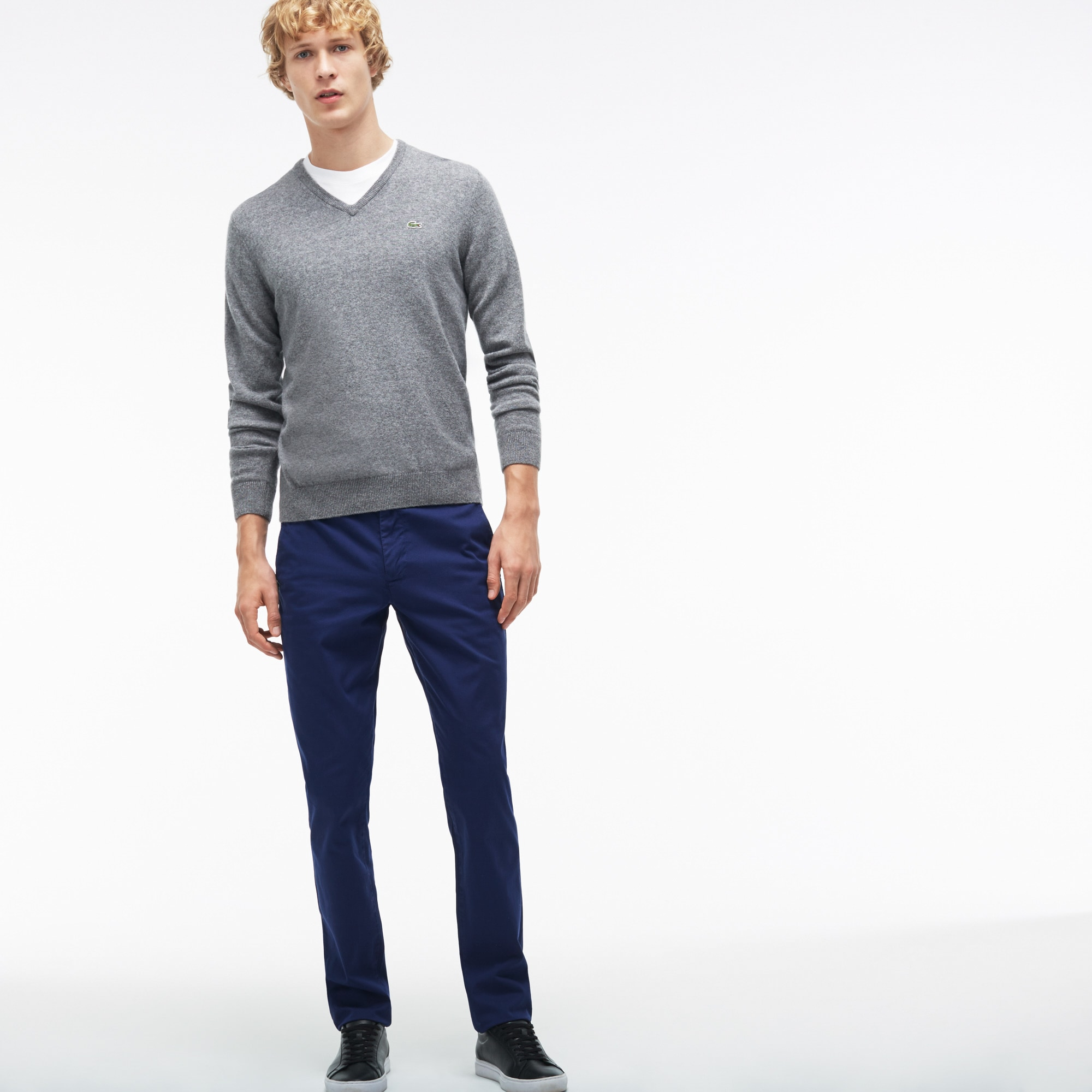 Pantalon chino slim fit en twill stretch imprimé