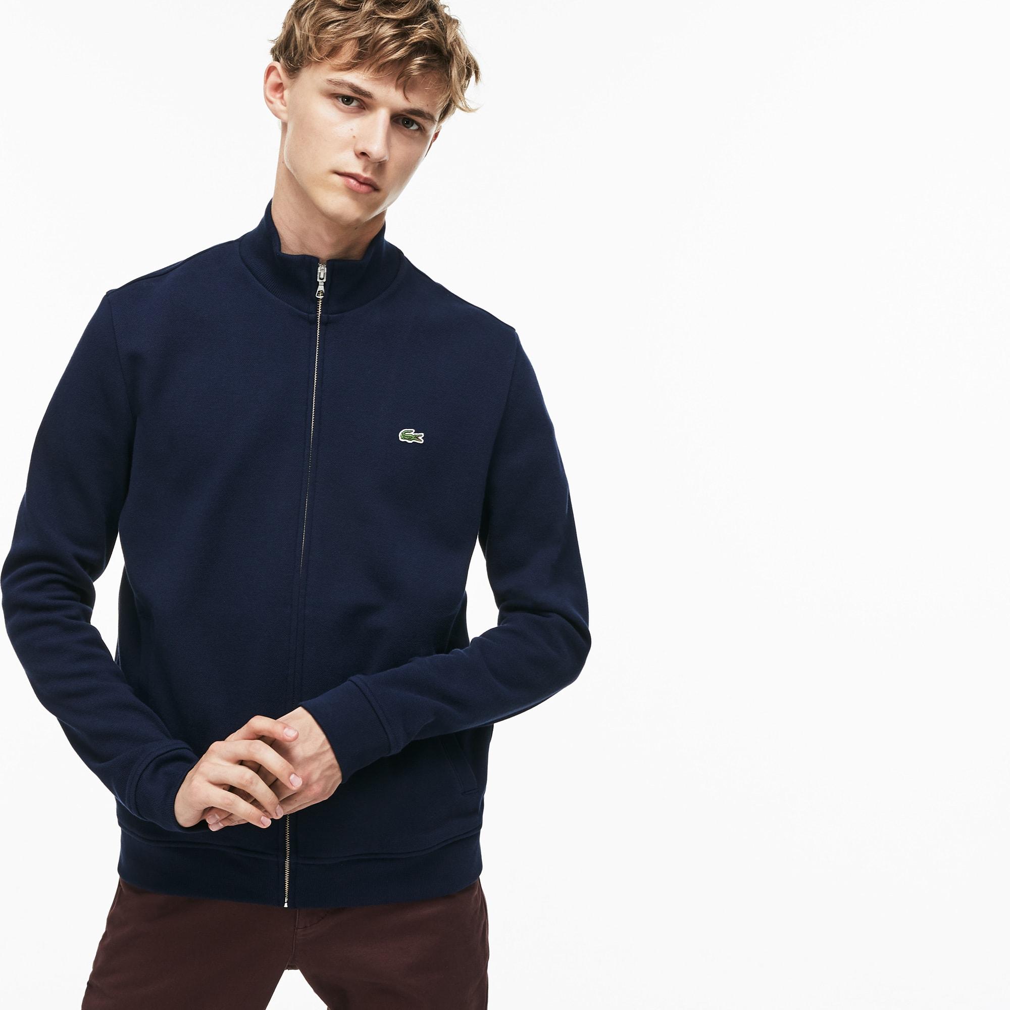 Sweatshirt zippé col montant en molleton uni