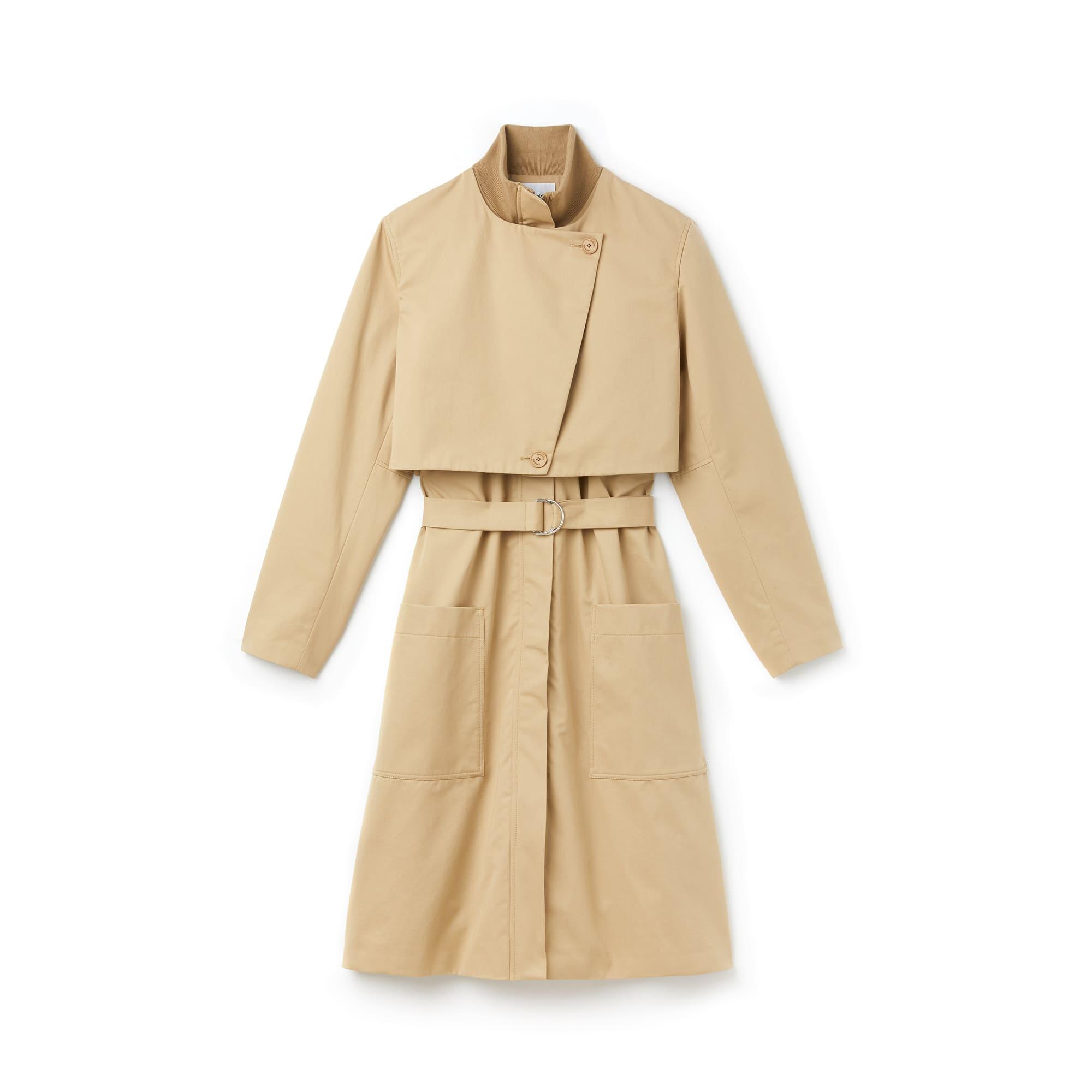 Trench-coat long à rabats ceinturé en twill de coton uni