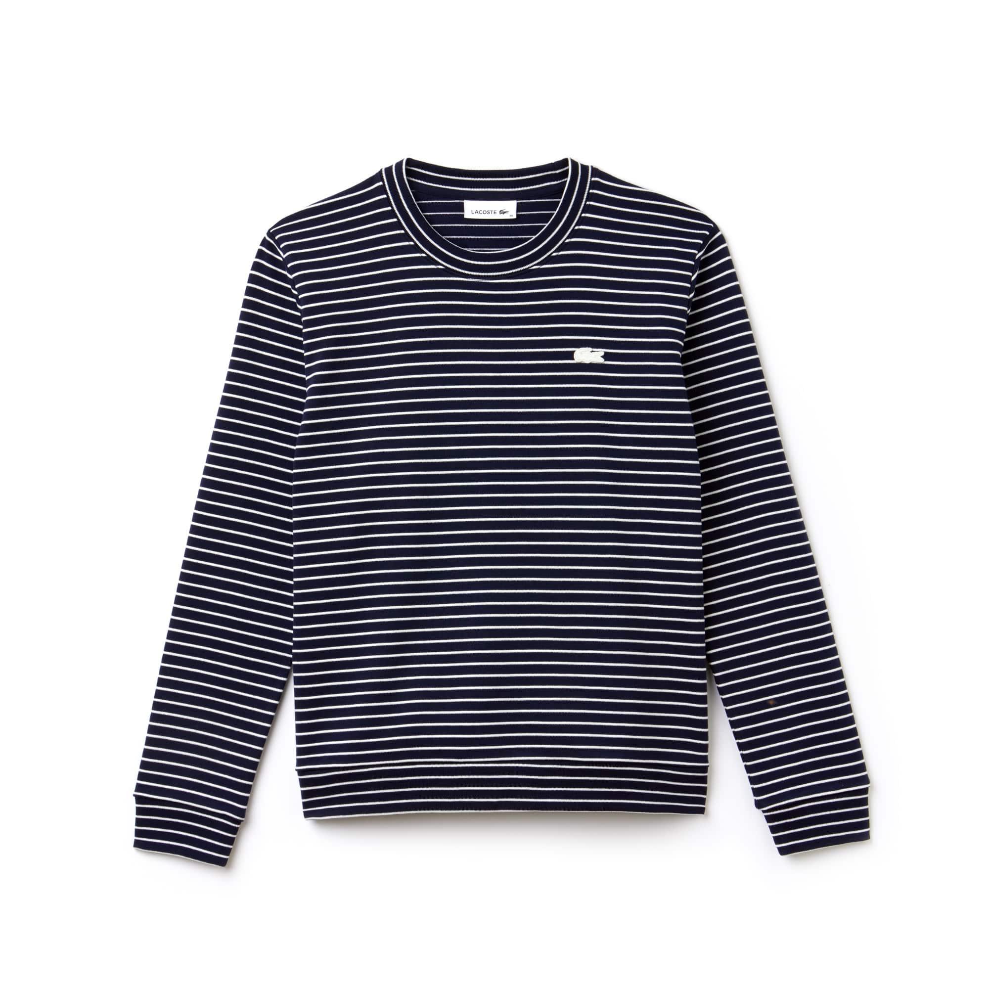 Sweatshirt col rond en interlock de coton stretch rayé ou uni