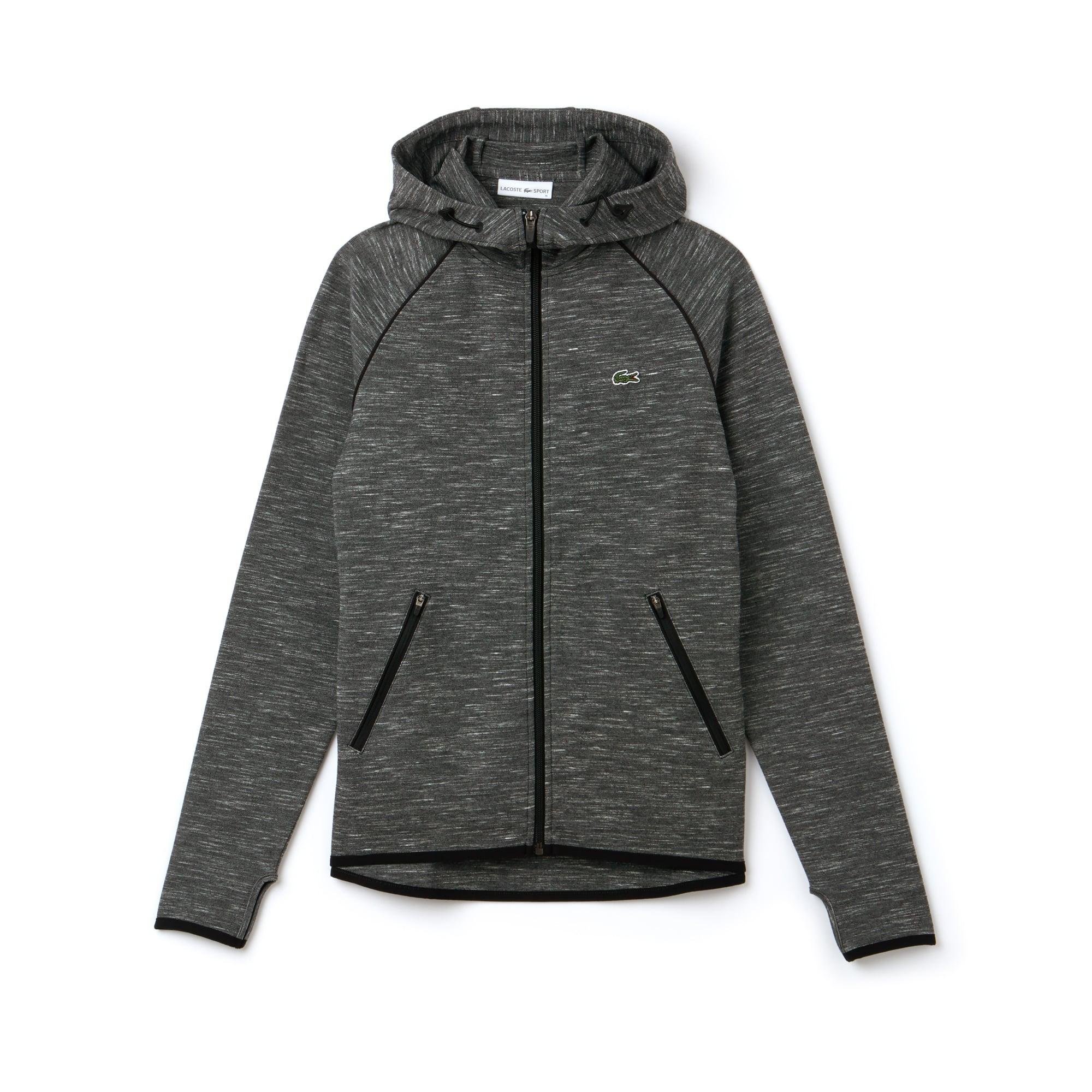 Sweatshirt zippé à capuche Tennis Lacoste SPORT stretch avec piping