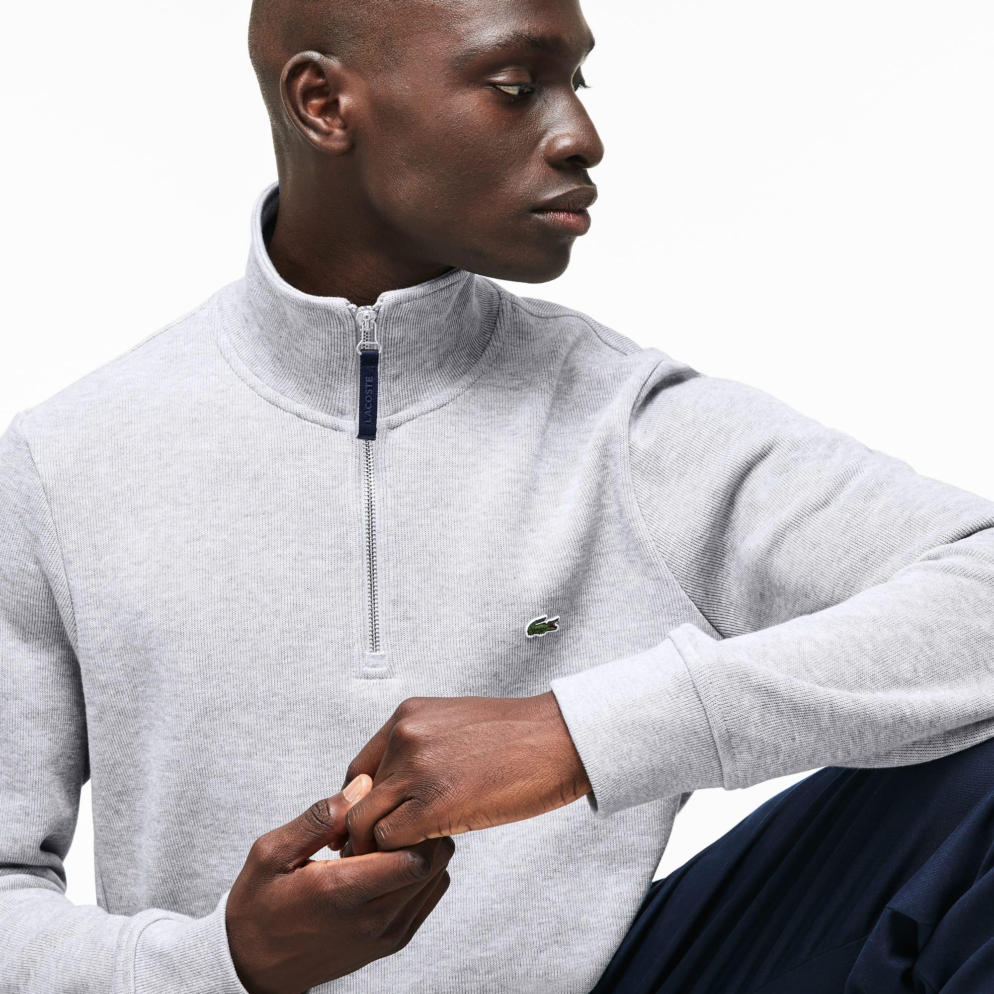 Sweatshirt col montant zippé à cotes plates