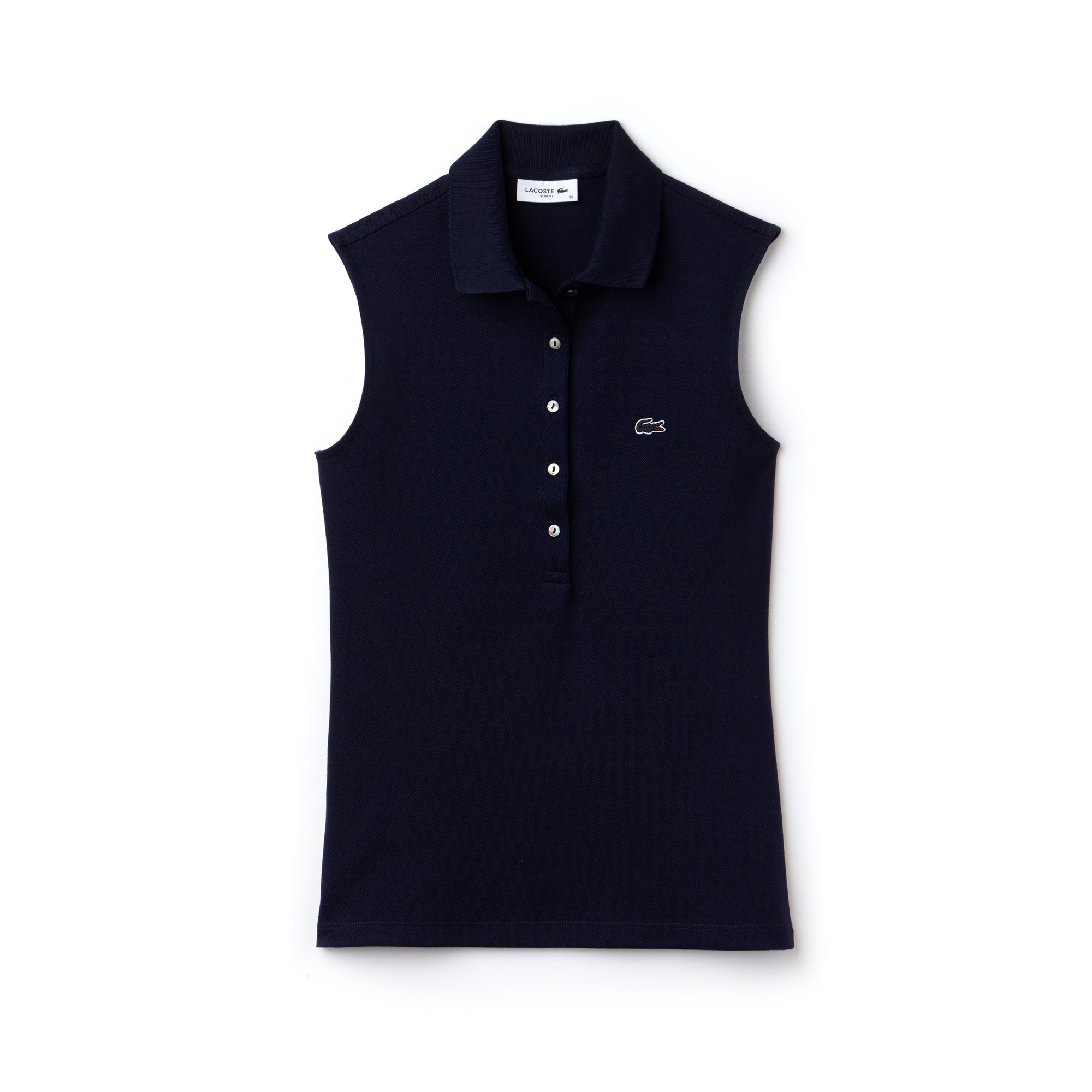 Polo sans manches slim fit Lacoste en mini piqué stretch uni