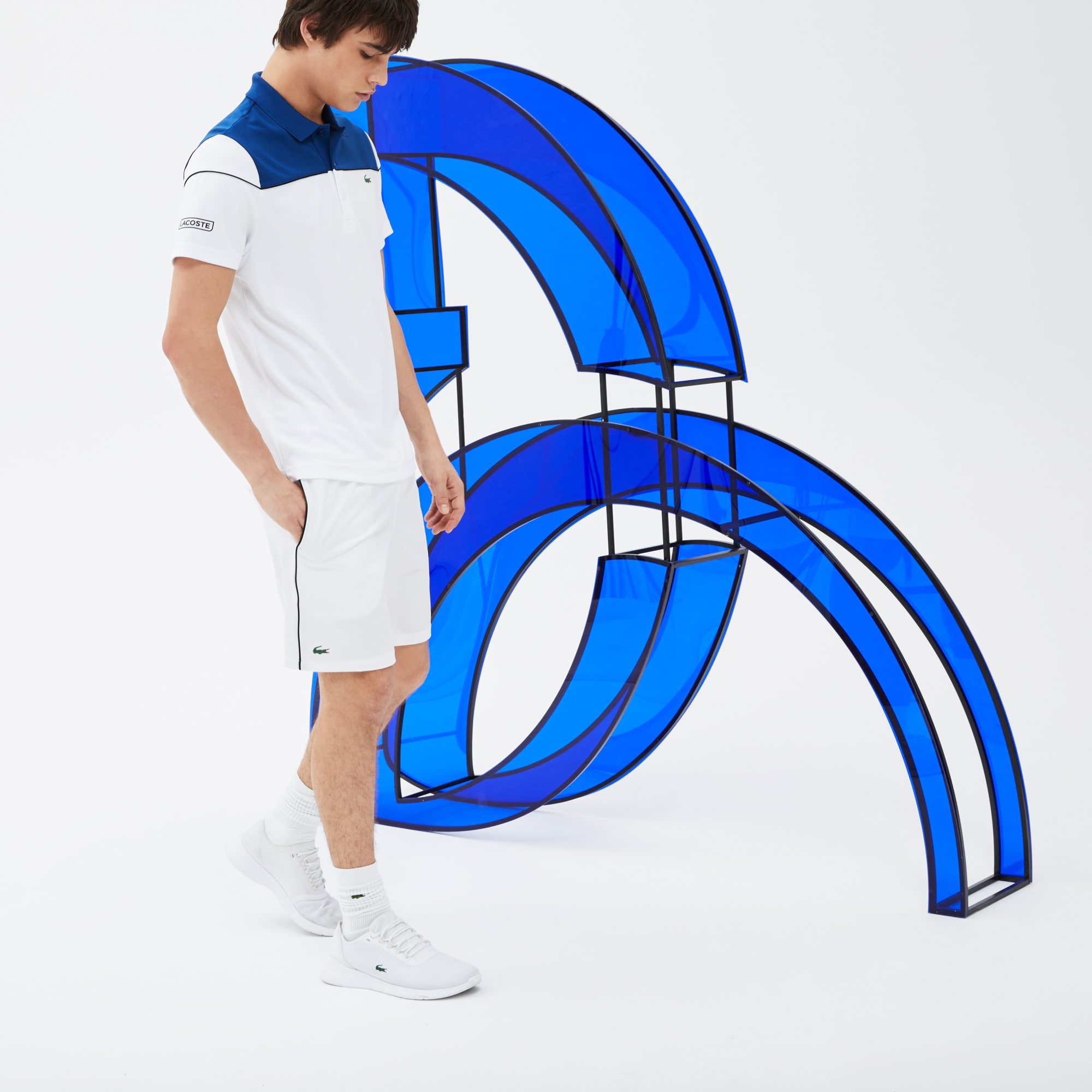 Polo LACOSTE SPORT COLLECTION NOVAK DJOKOVIC en piqué technique color block