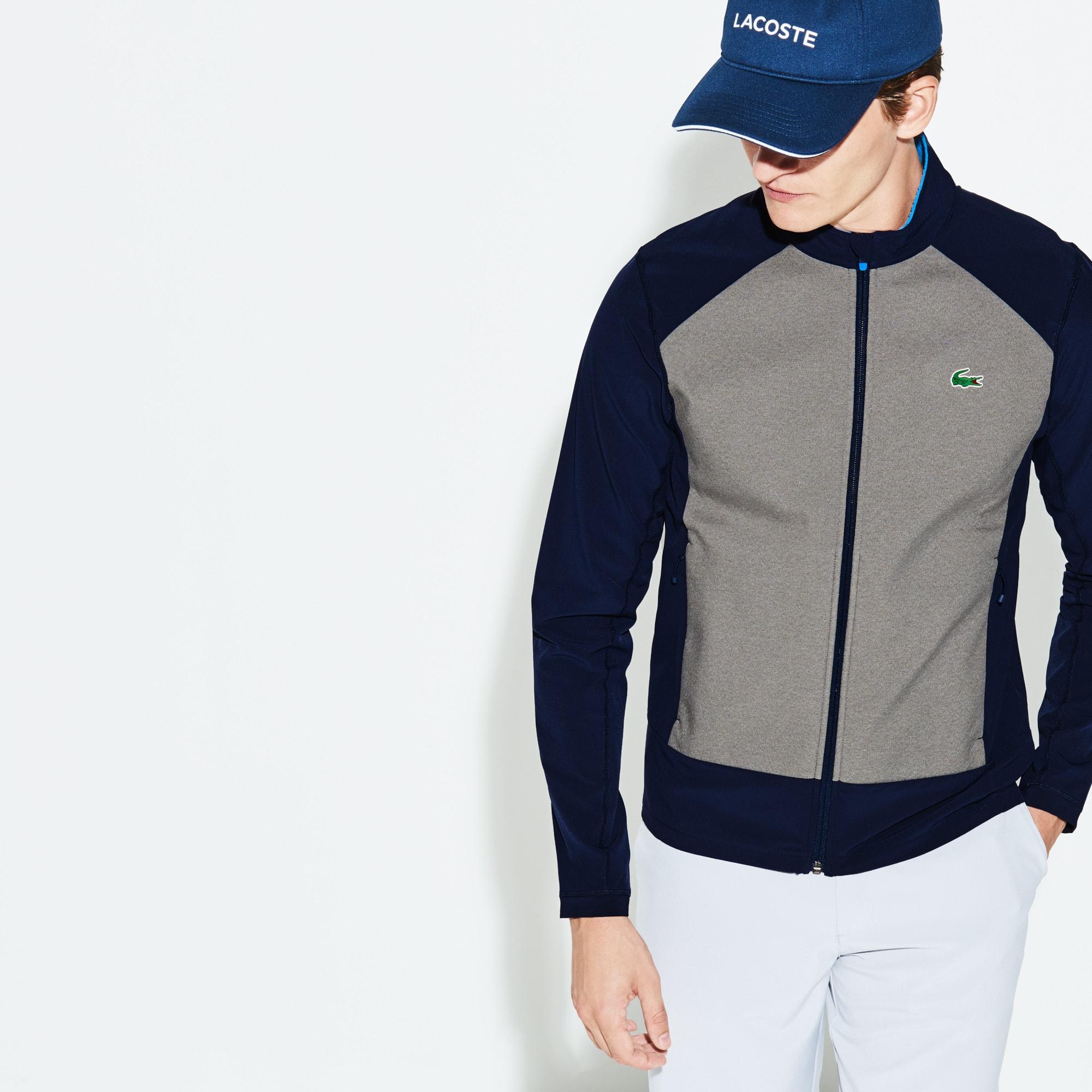 Sweatshirt zippé Golf Lacoste SPORT en taffetas et midlayer déperlant