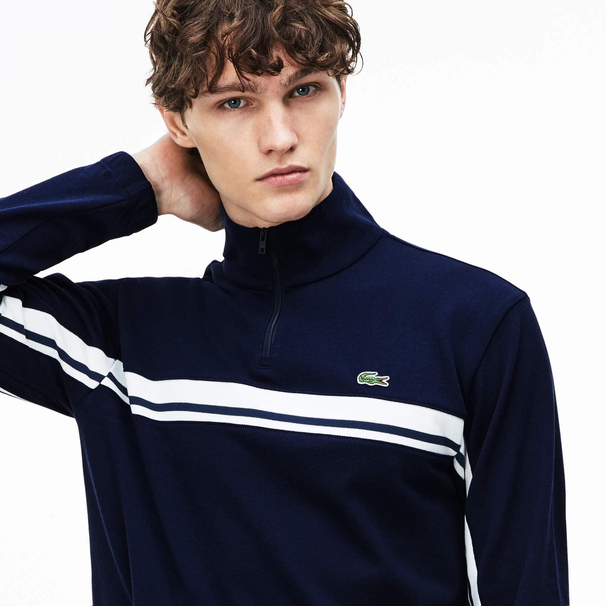 Sweatshirt col montant zippé en piqué avec bandes color block