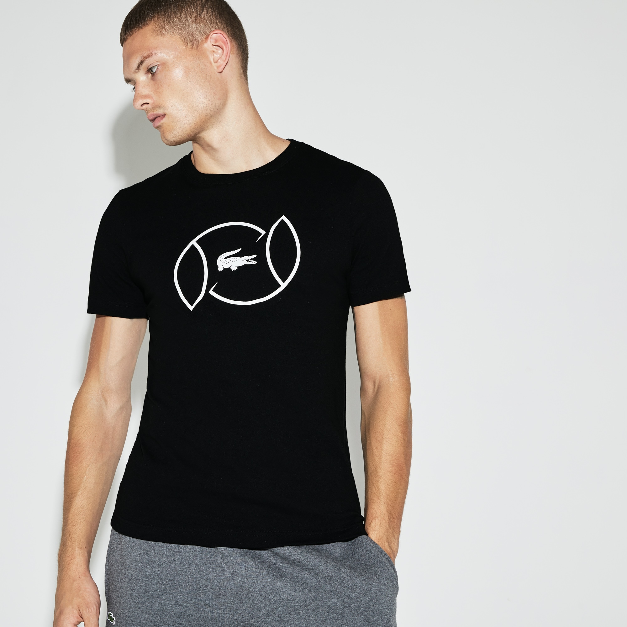 T-shirt col rond Tennis Lacoste SPORT en jersey technique avec marquage