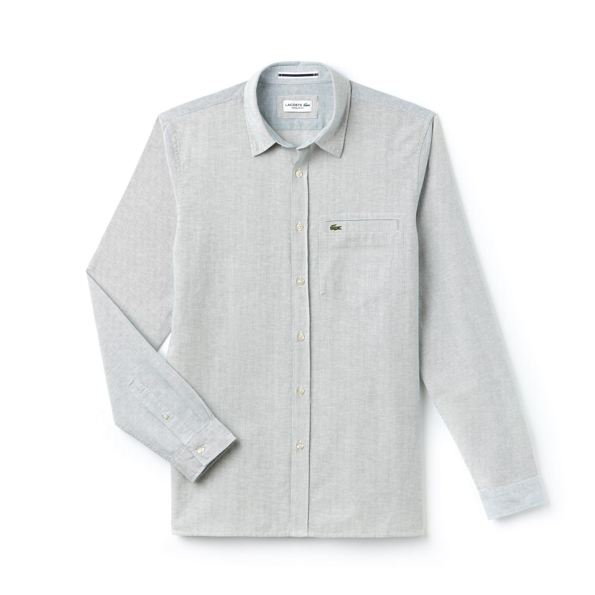 Chemise regular fit en popeline de coton et lin à rayures