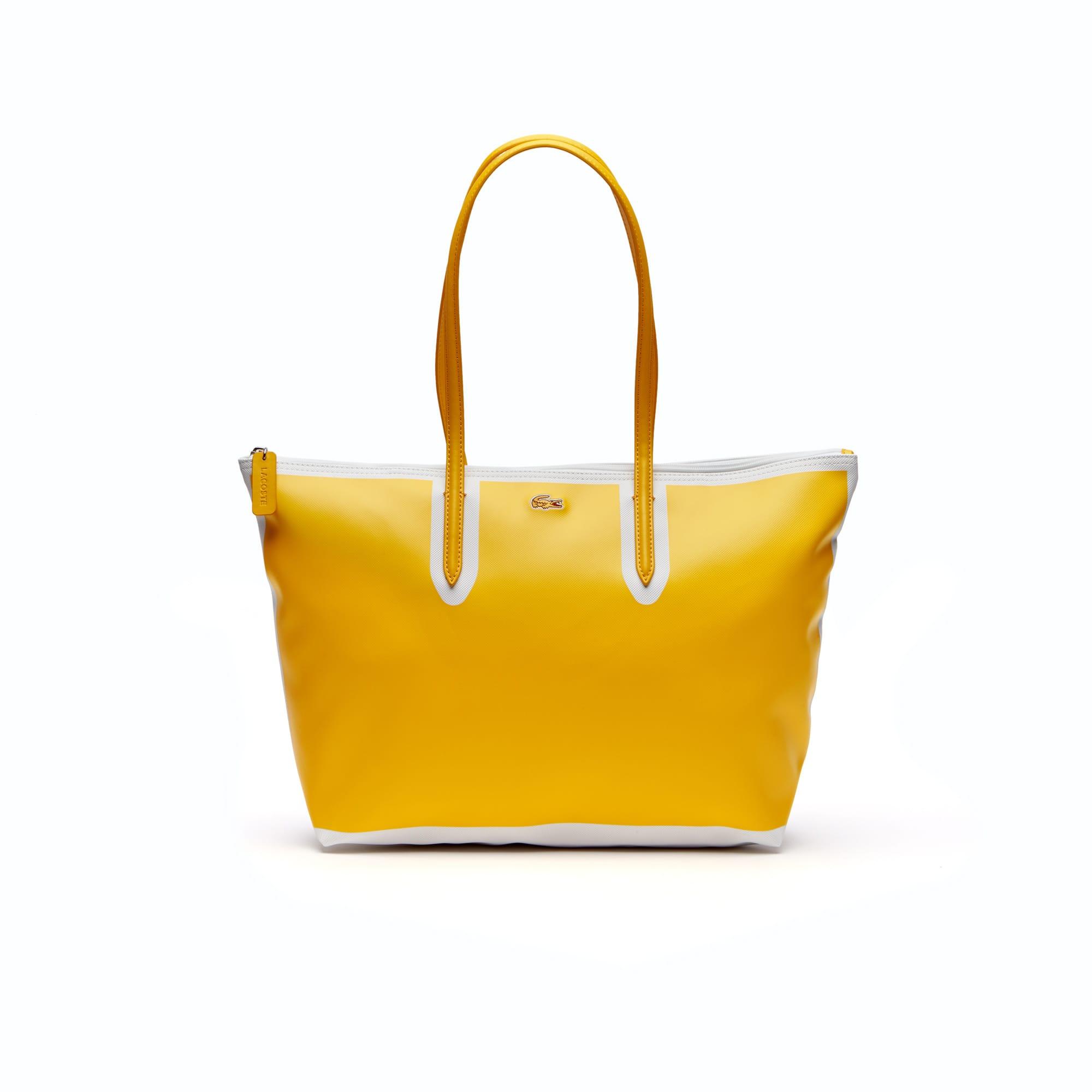 Grand sac cabas zippé L.12.12 Concept petit piqué color block