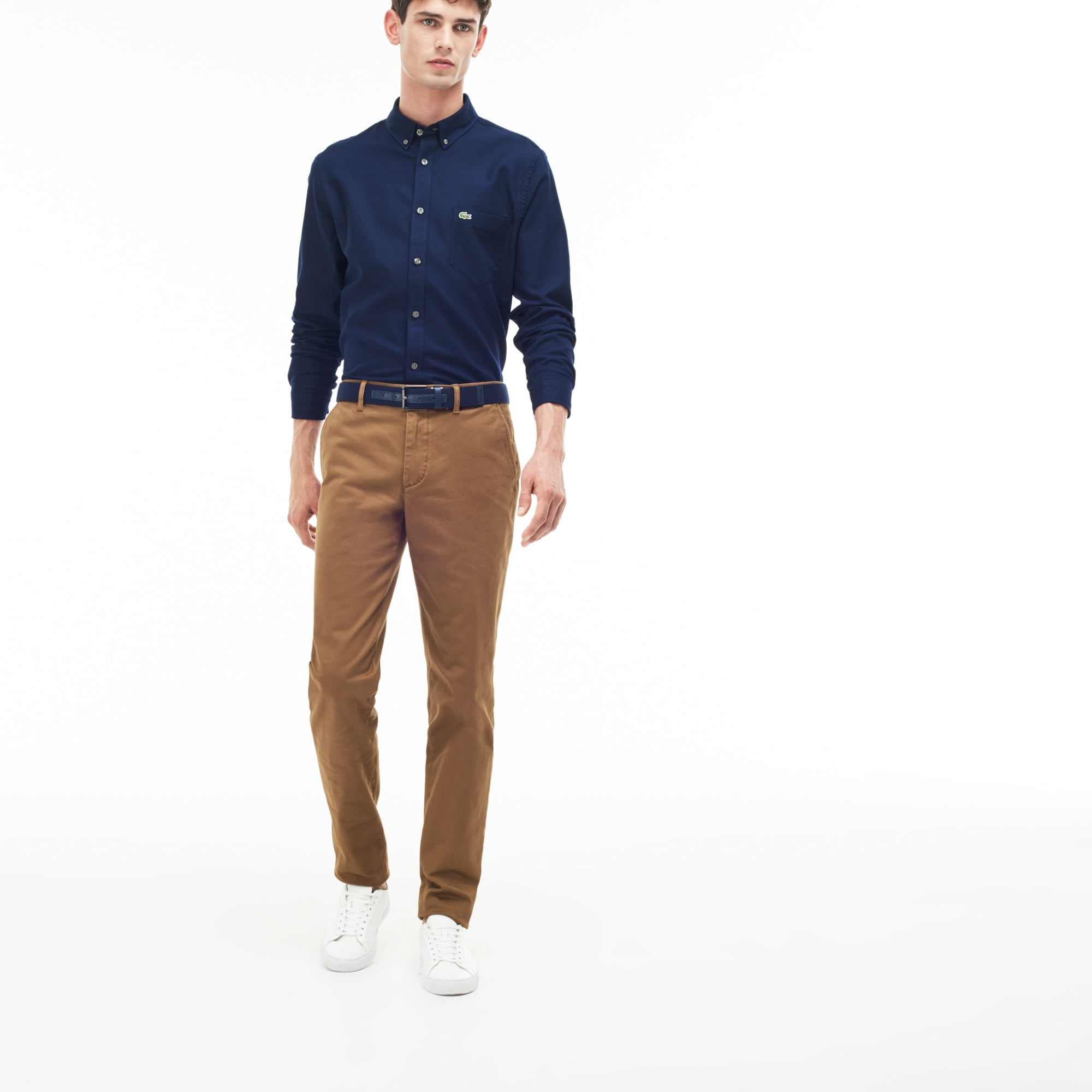 Pantalon chino slim fit en gabardine stretch unie