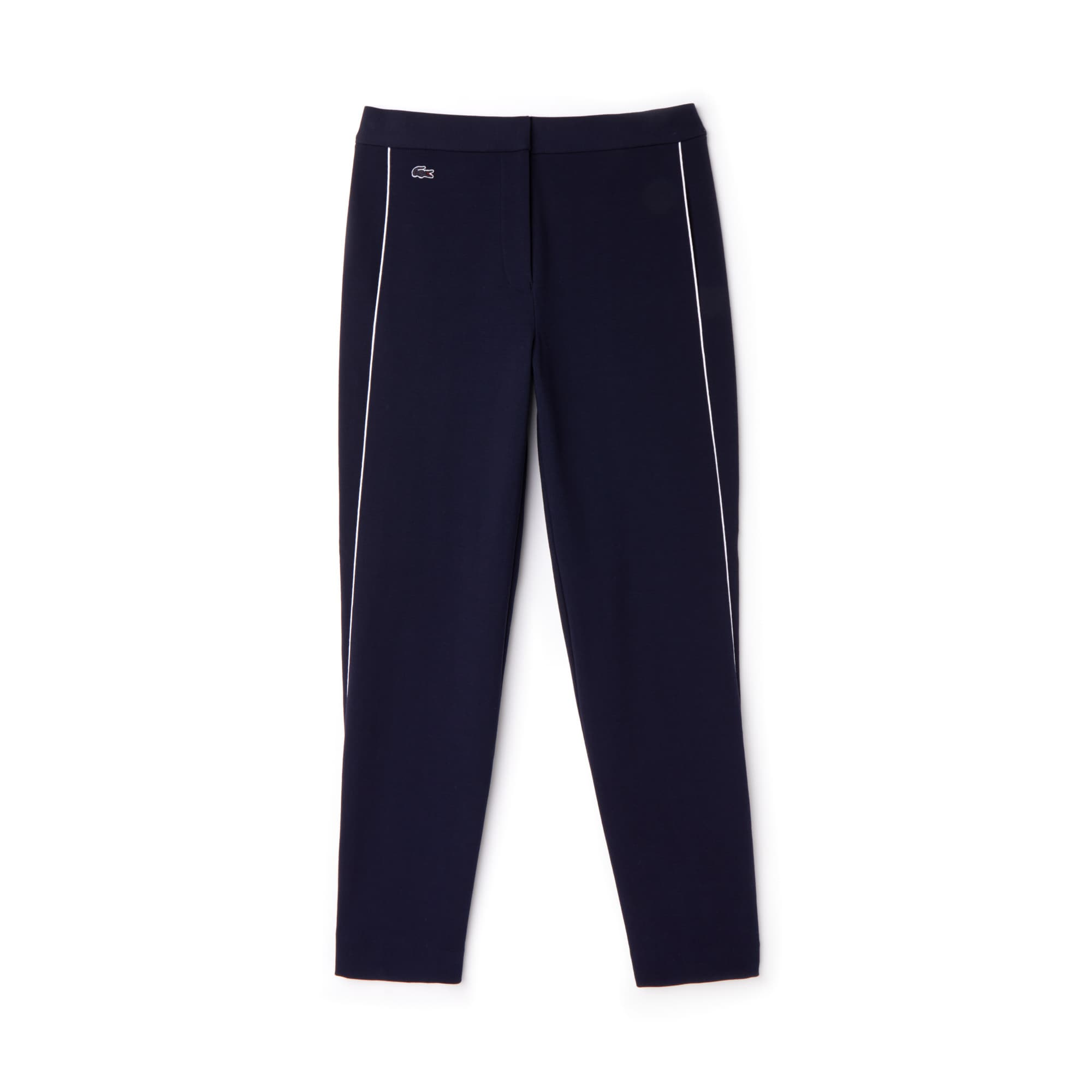 Pantalon carotte en crêpe interlock de coton avec piping