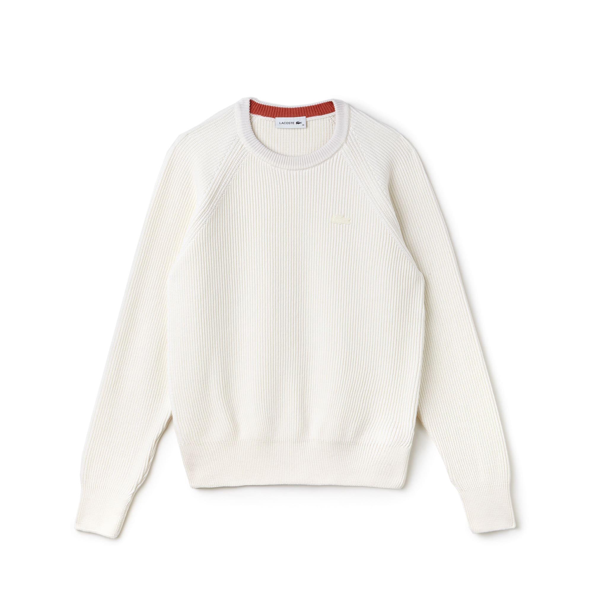Pull col rond en coton et laine côtelés unis