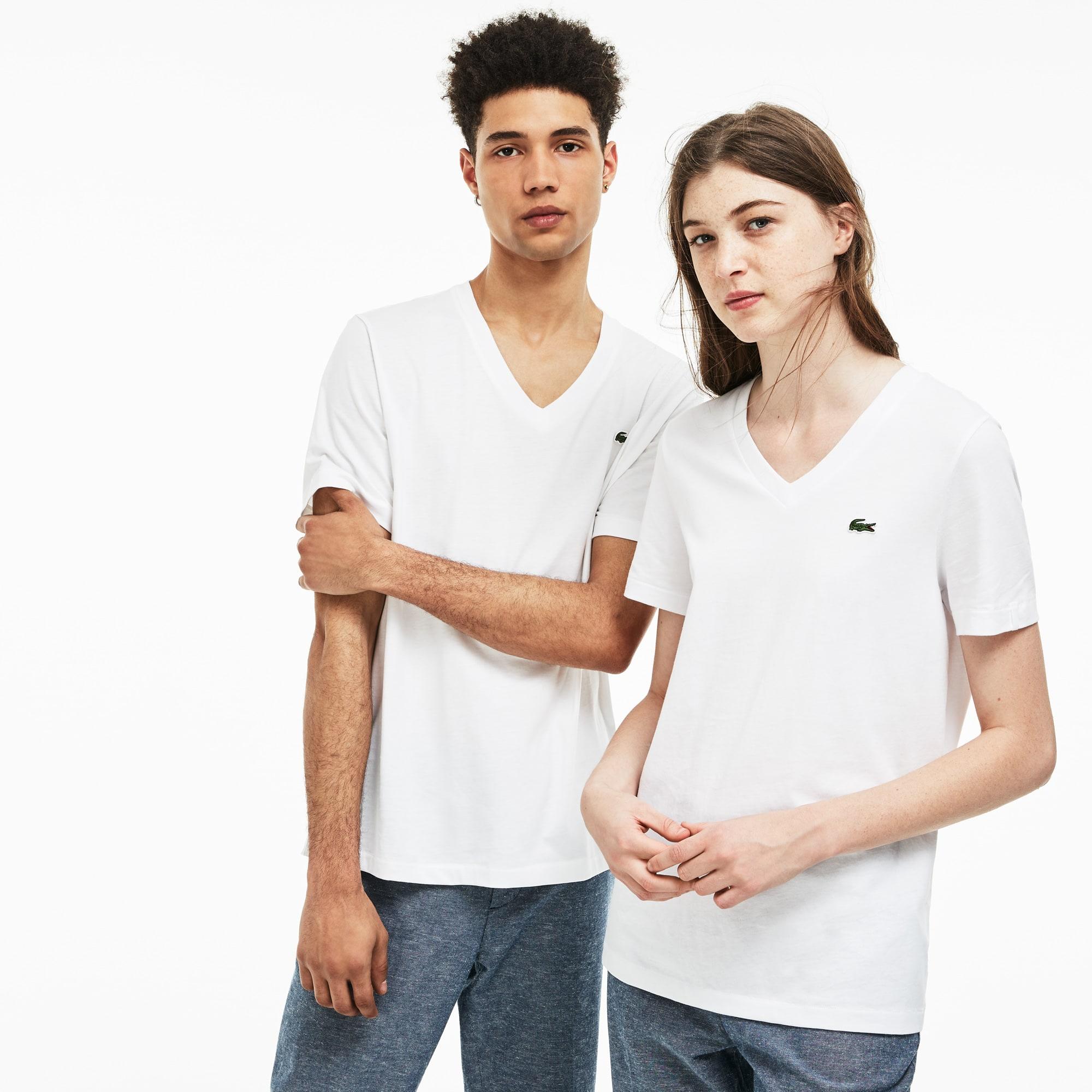 T-shirt unisex con collo a V Lacoste LIVE in jersey di cotone tinta unita