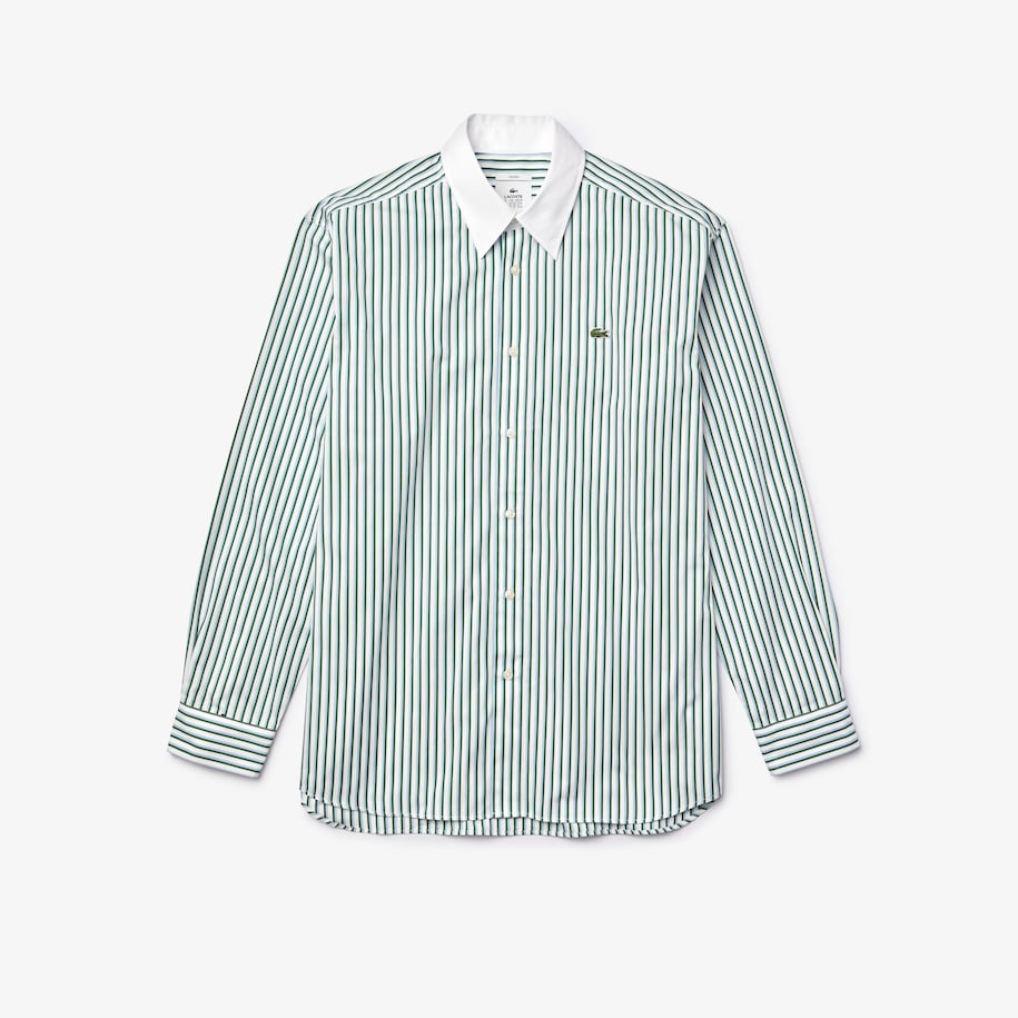 Camicia unisex in popeline di cotone a righe relaxed fit Lacoste LIVE