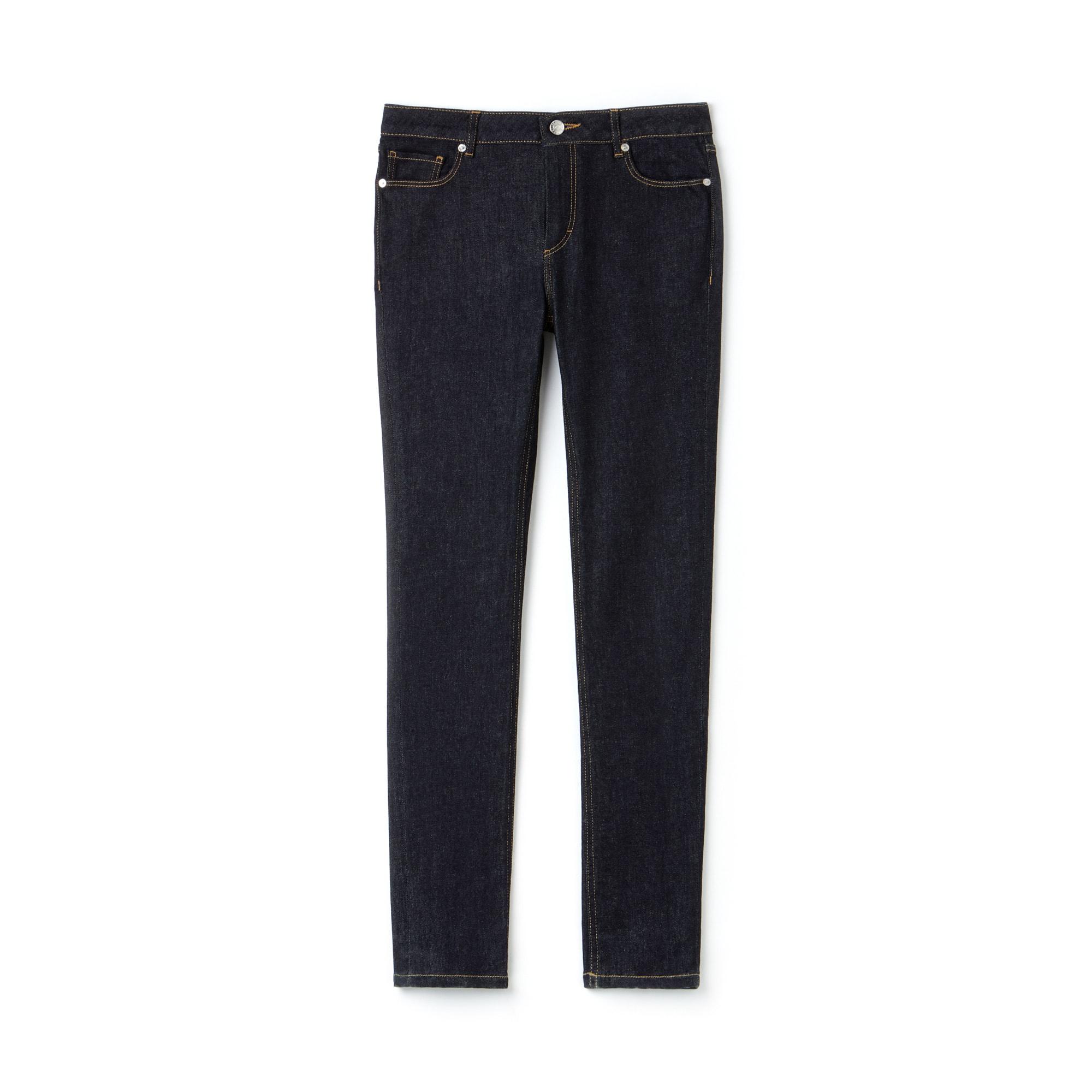 Jeans slim fit in denim di cotone stretch tinta unita