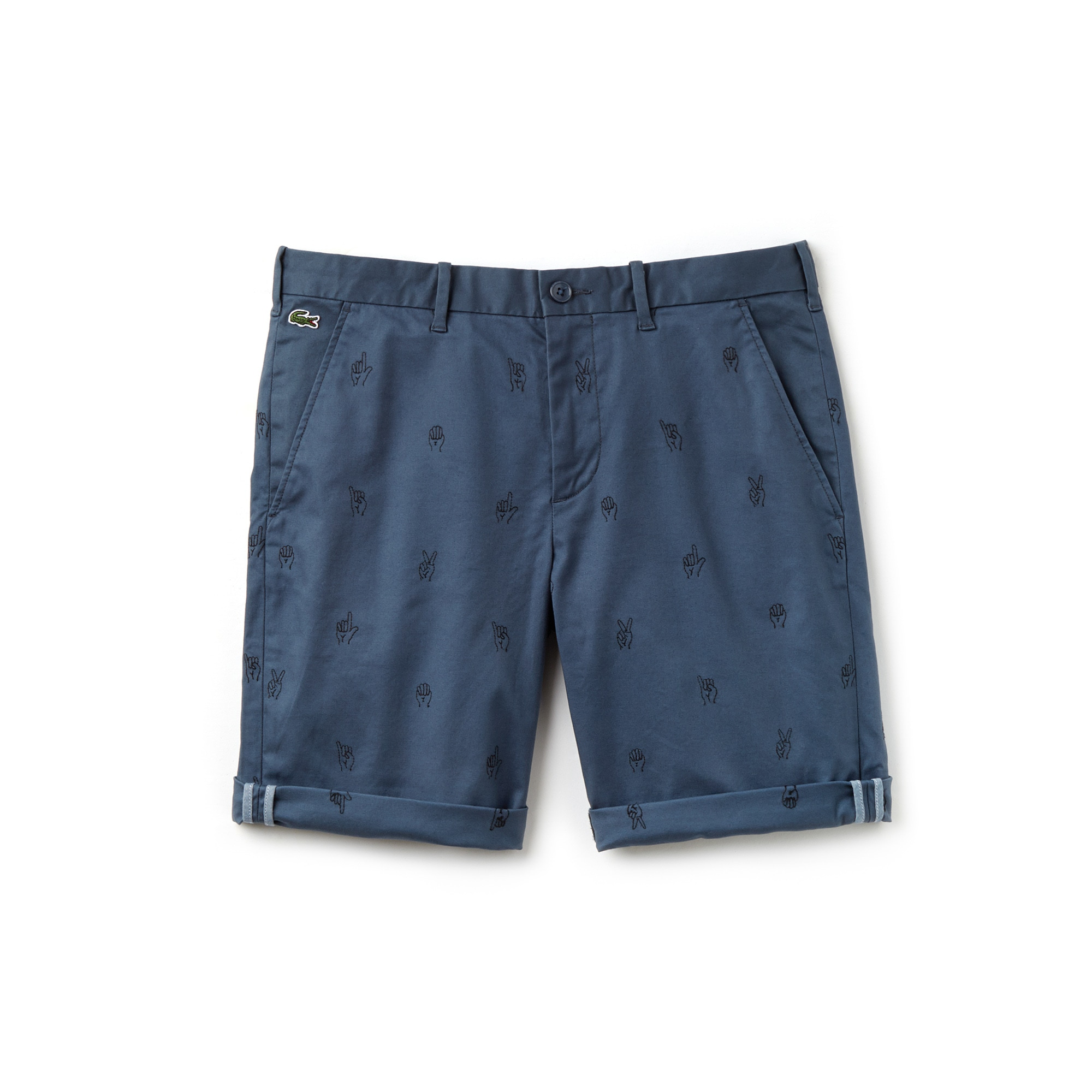 Bermuda Lacoste LIVE in twill di cotone stretch con mini ricami