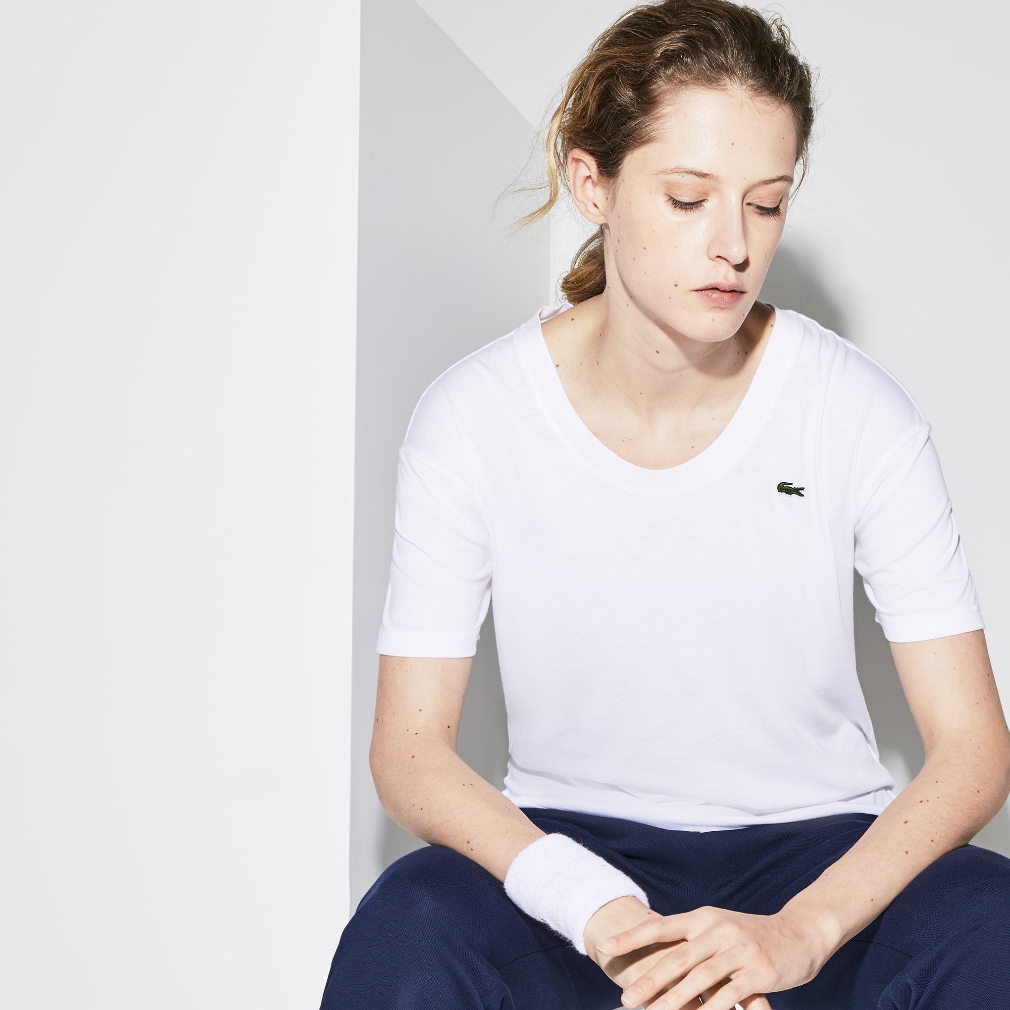 T-shirt con collo a U Tennis Lacoste SPORT in jersey fluido tinta unita