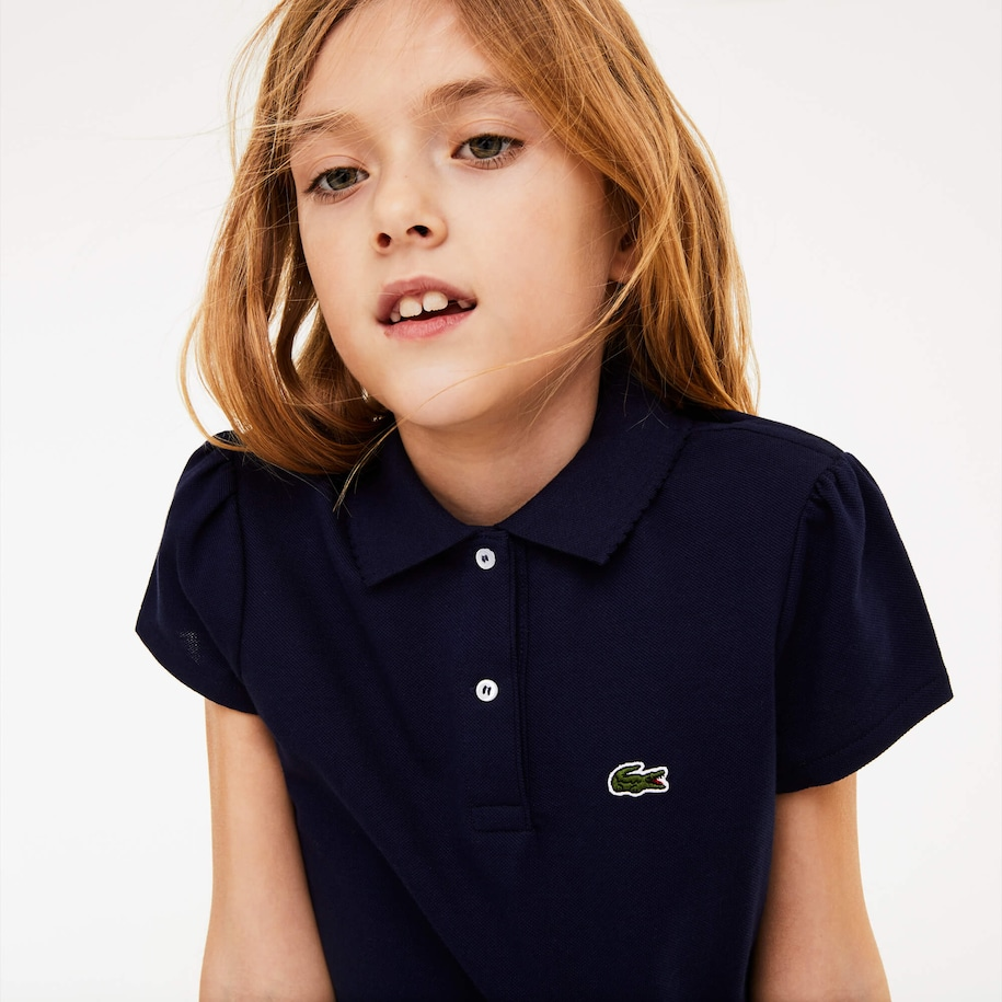 Polo Bambina Lacoste in mini piqué con collo a festoni